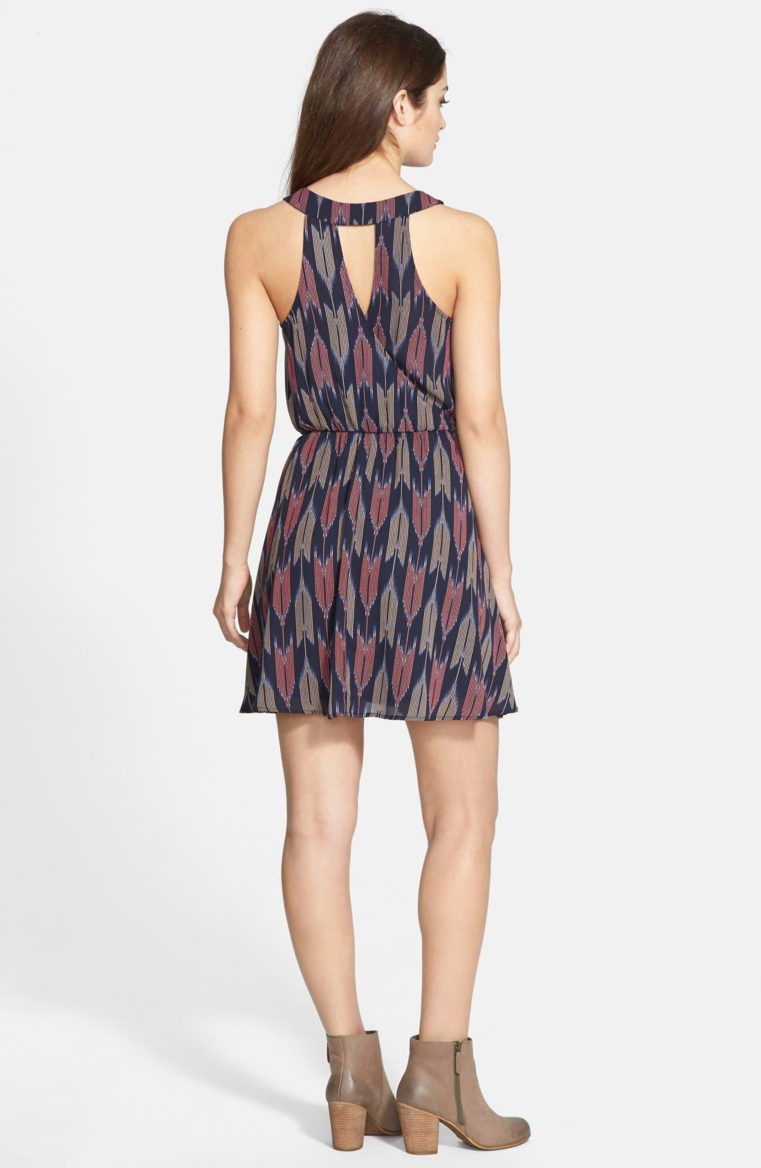 Kylie Skater Dress,                             Alternate thumbnail 2, color,                             Navy Multi