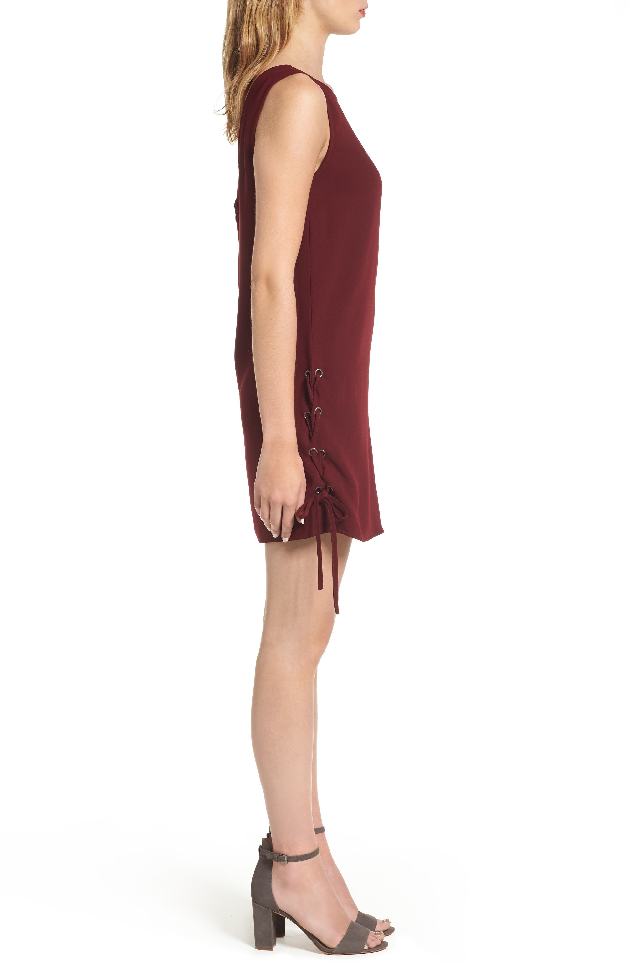 Timberly Lace-Up Shift Dress,                             Alternate thumbnail 3, color,                             Port