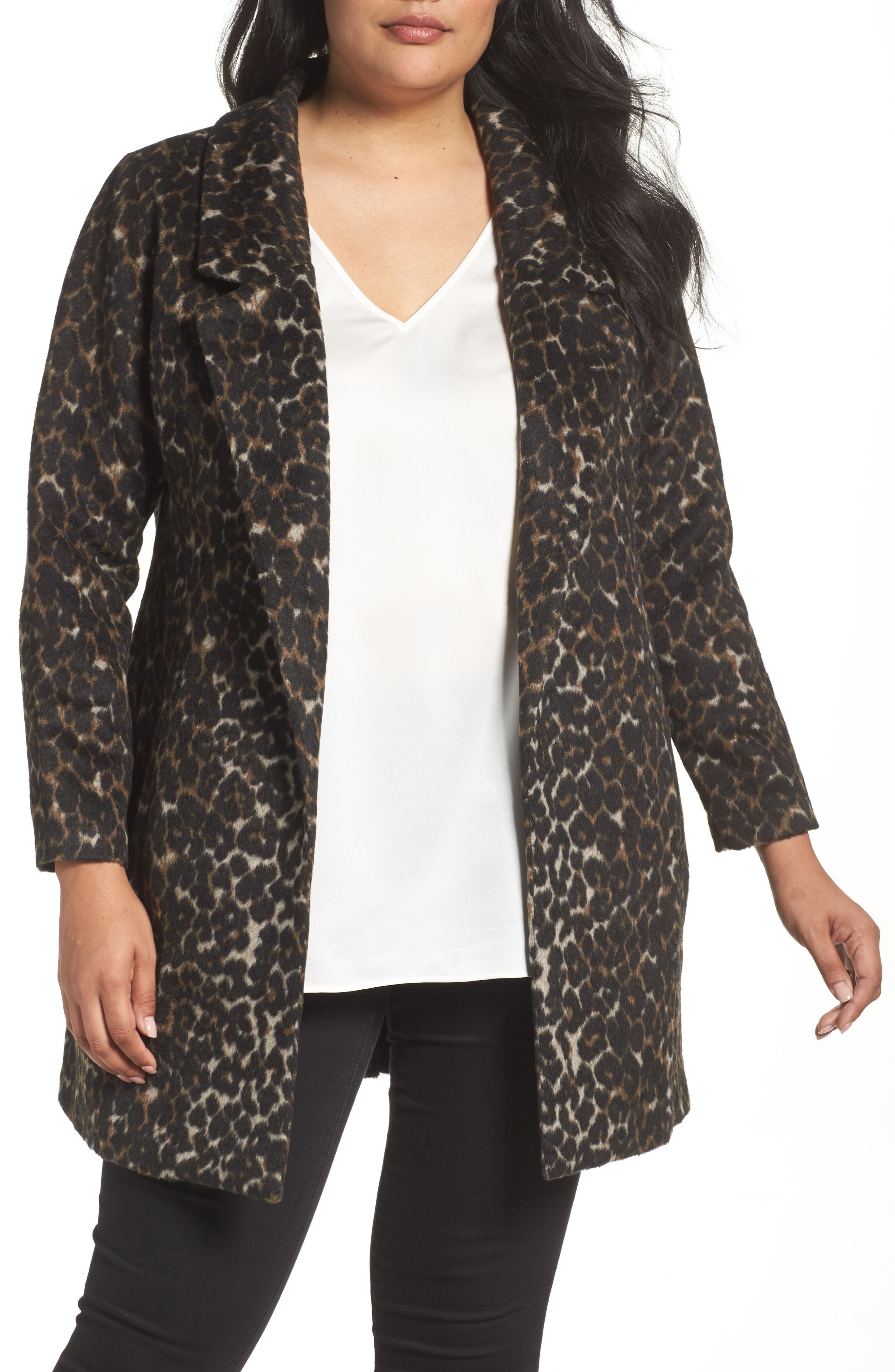 Alternate Image 1 Selected - Sejour Leopard Print Jacket (Plus Size)