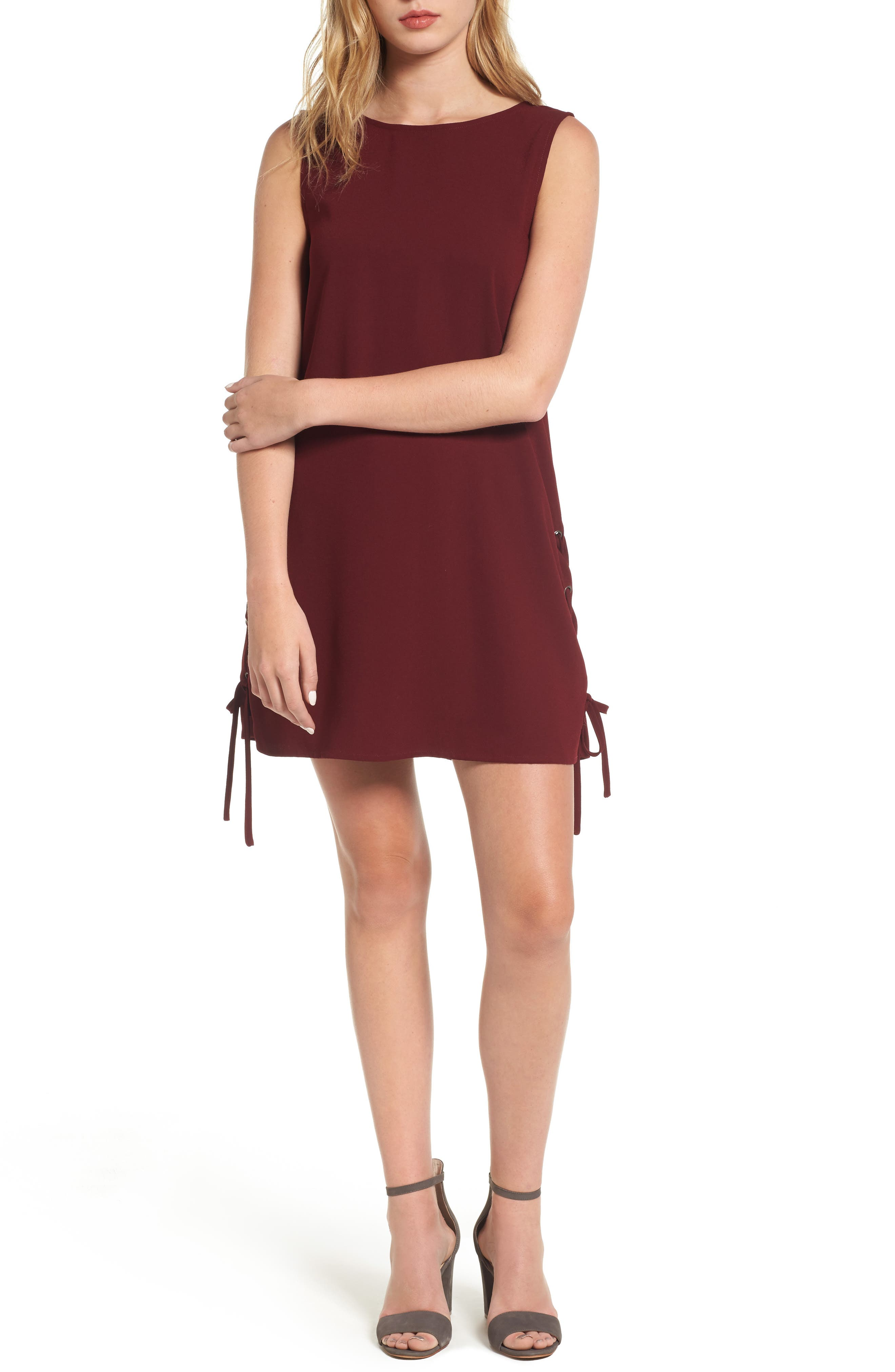 Timberly Lace-Up Shift Dress,                         Main,                         color, Port