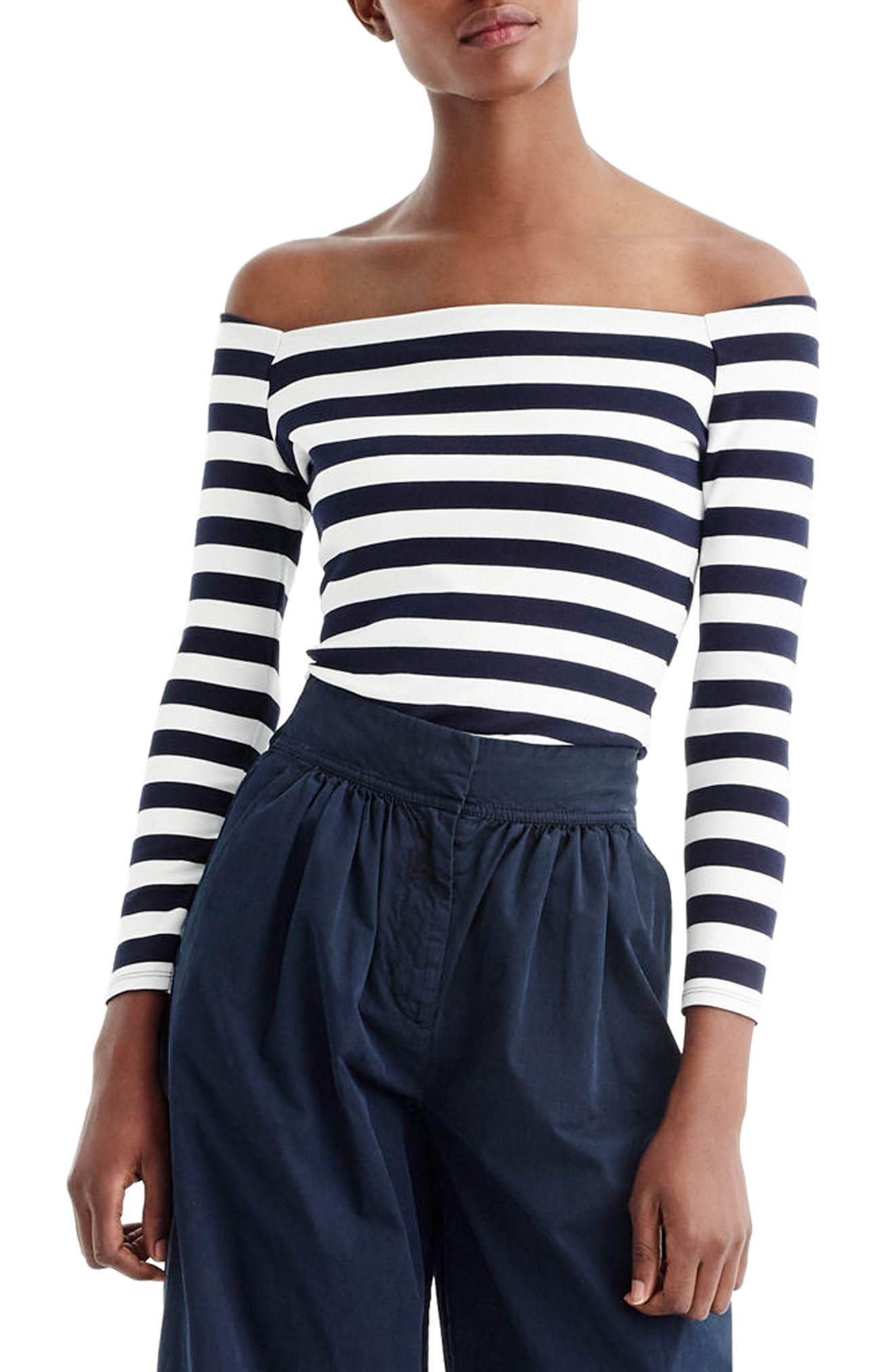 J.Crew Stripe Off the Shoulder Tee