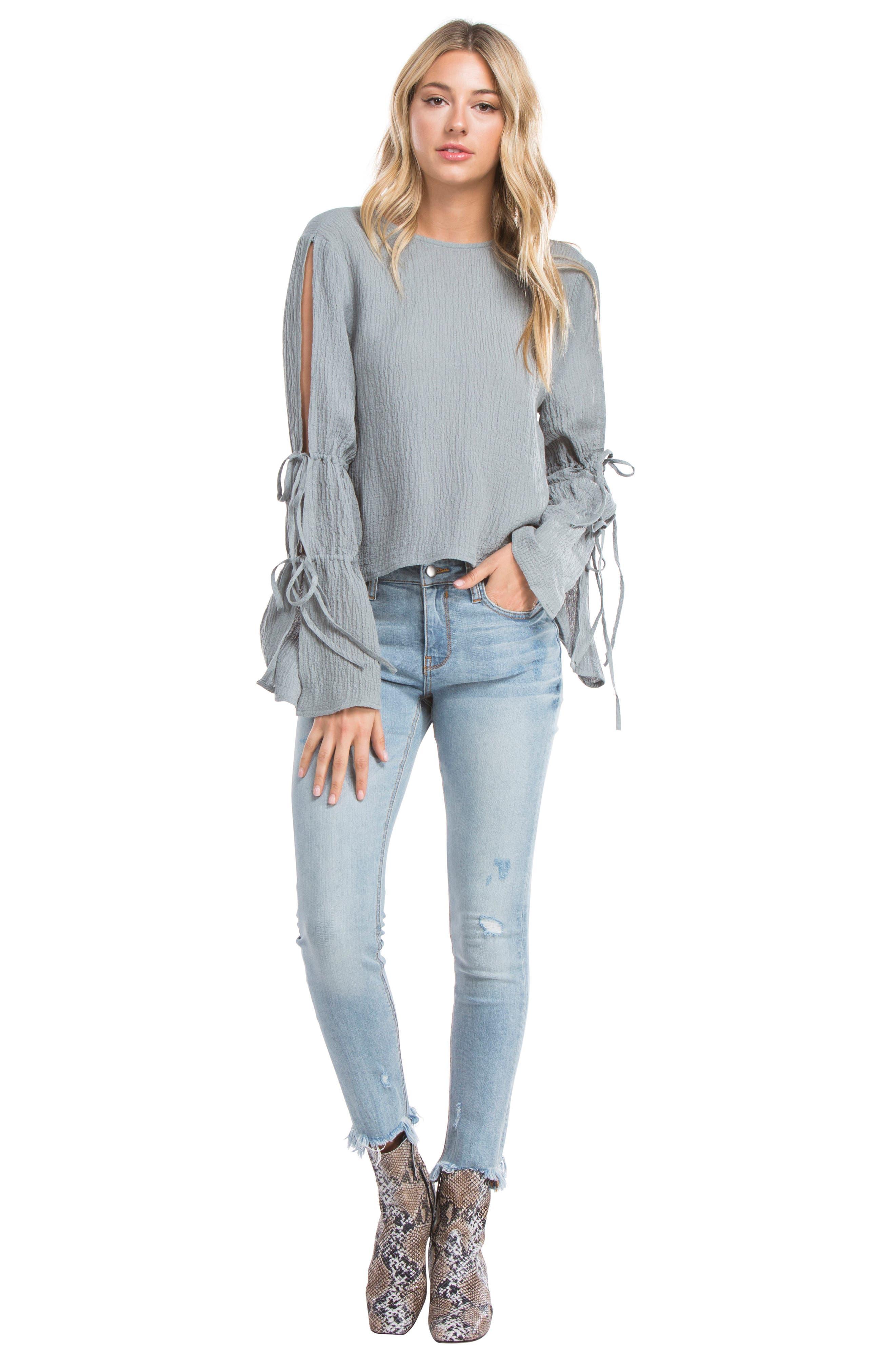 Alternate Image 2  - EVIDNT Frayed Hem Ankle Skinny Jeans
