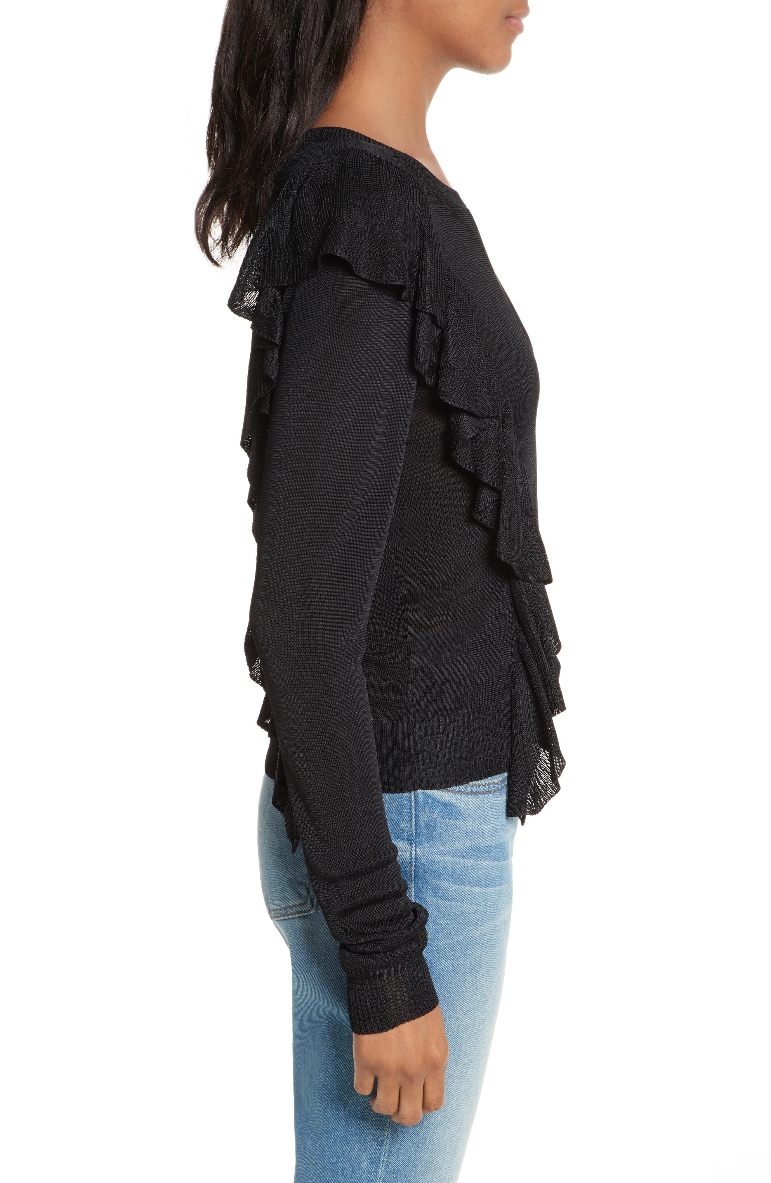 Lou Ruffle Sweater,                             Alternate thumbnail 3, color,                             Black