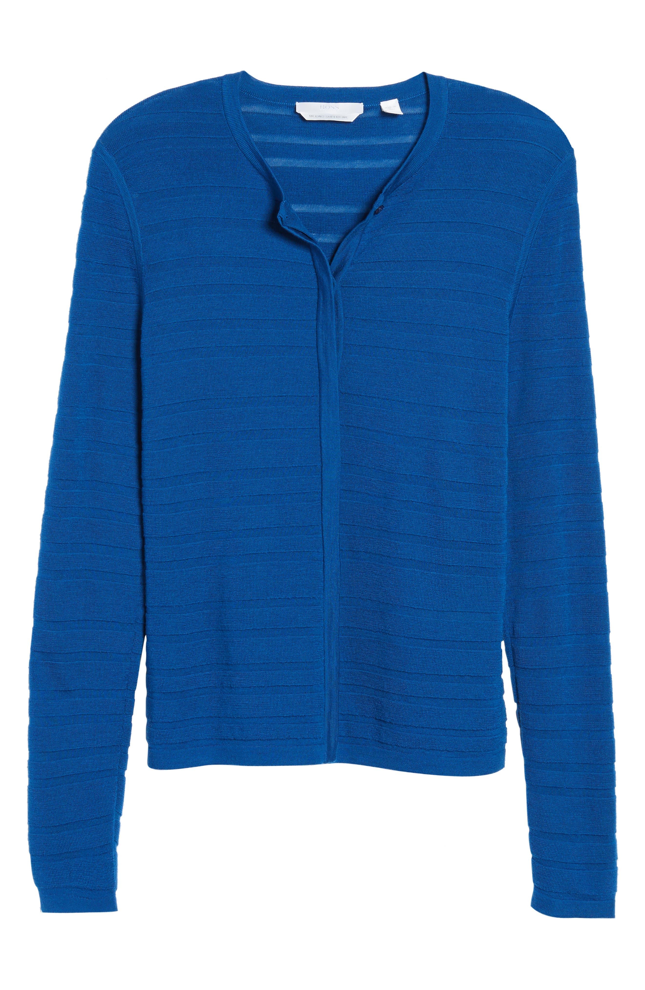 Fahsa Stripe Textured Wool Cardigan,                             Alternate thumbnail 6, color,                             Gentian Blue