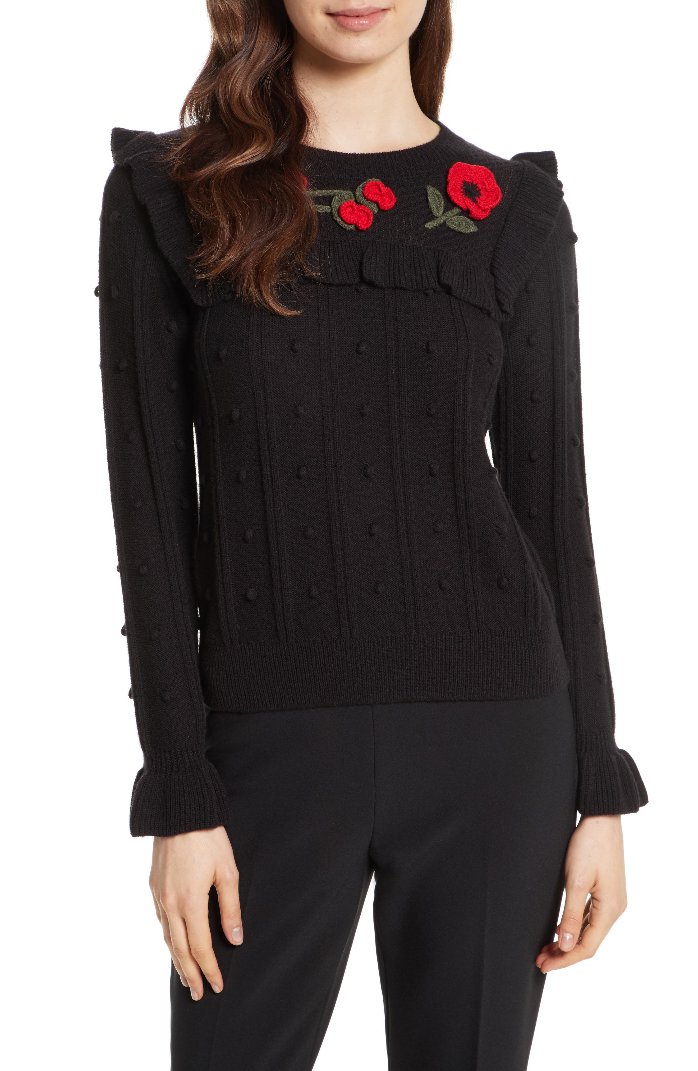 poppy embroidered sweater,                         Main,                         color, Black