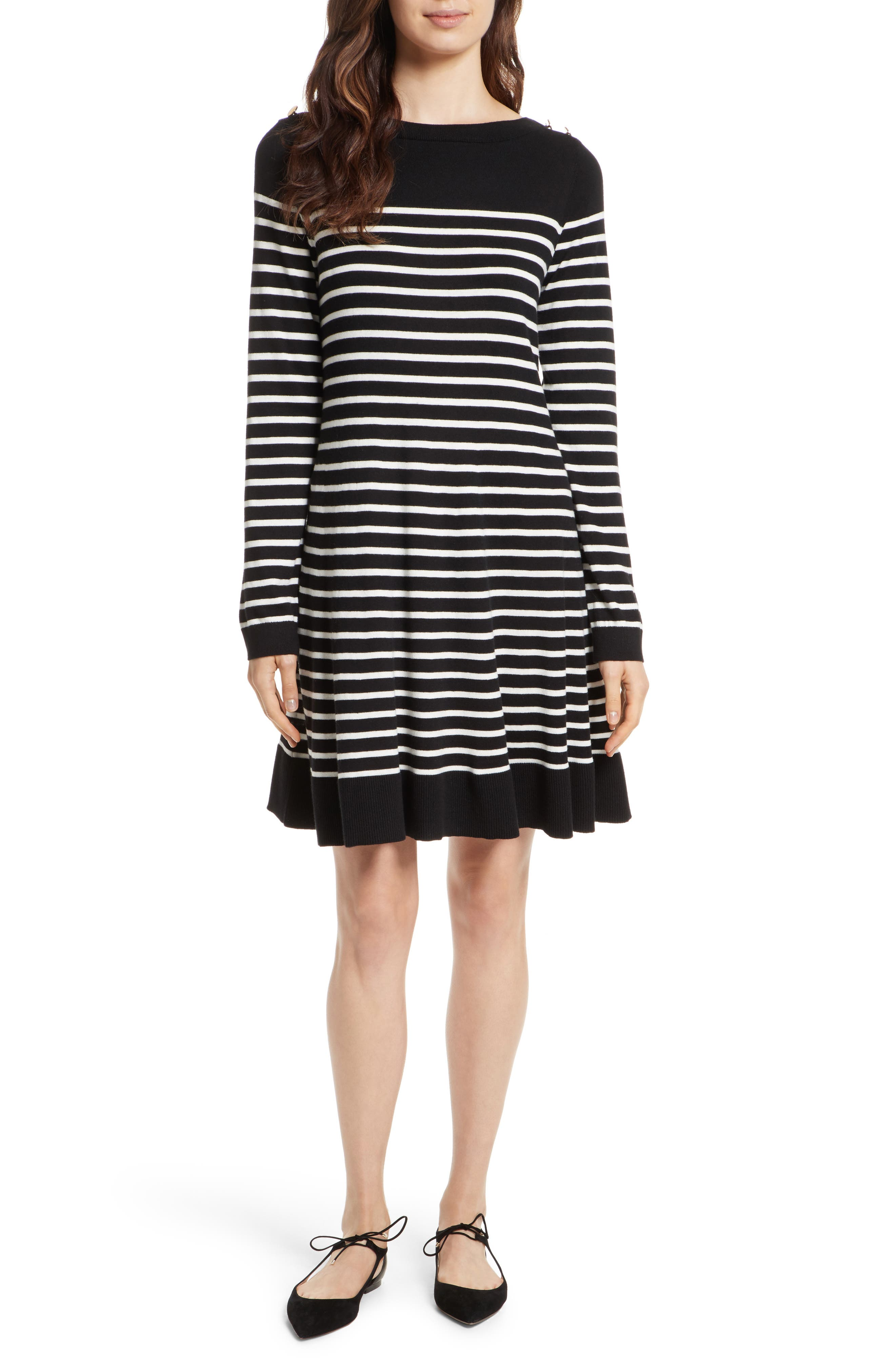 stripe swing sweater dress,                         Main,                         color, Black/ Off-White