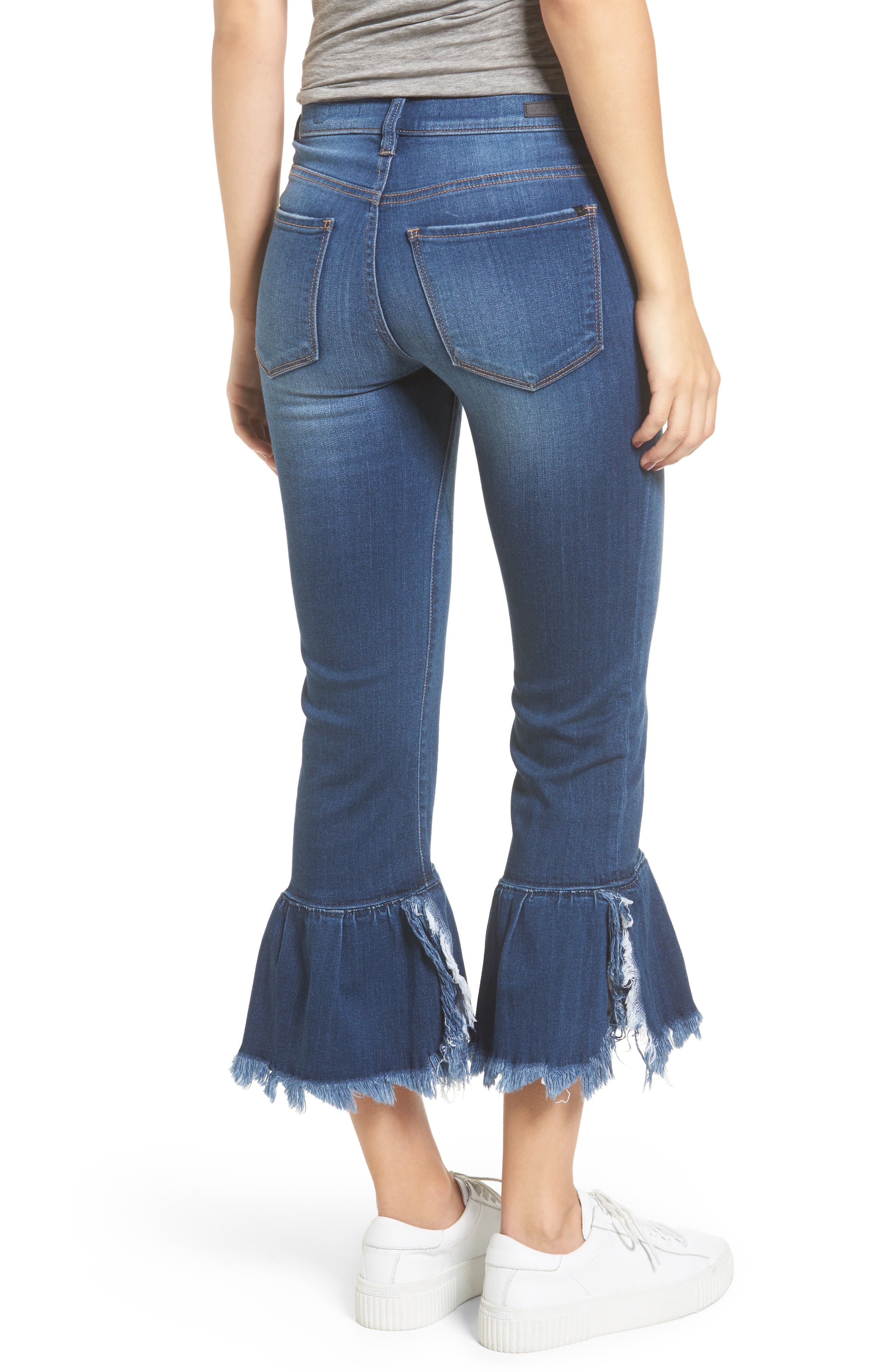 Ruffle Hem Jeans,                             Alternate thumbnail 2, color,                             Med Wash