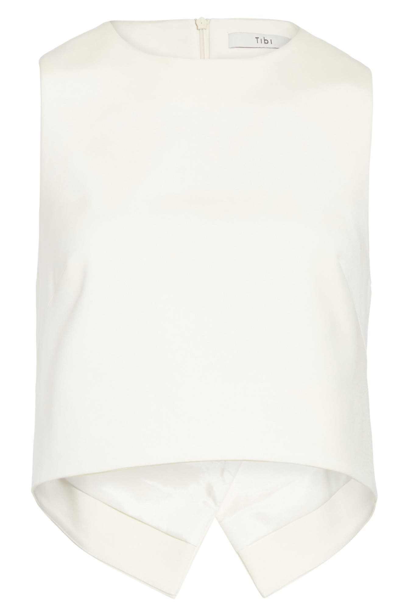 Cutout Back Stretch Faille Top,                             Alternate thumbnail 6, color,                             Ivory