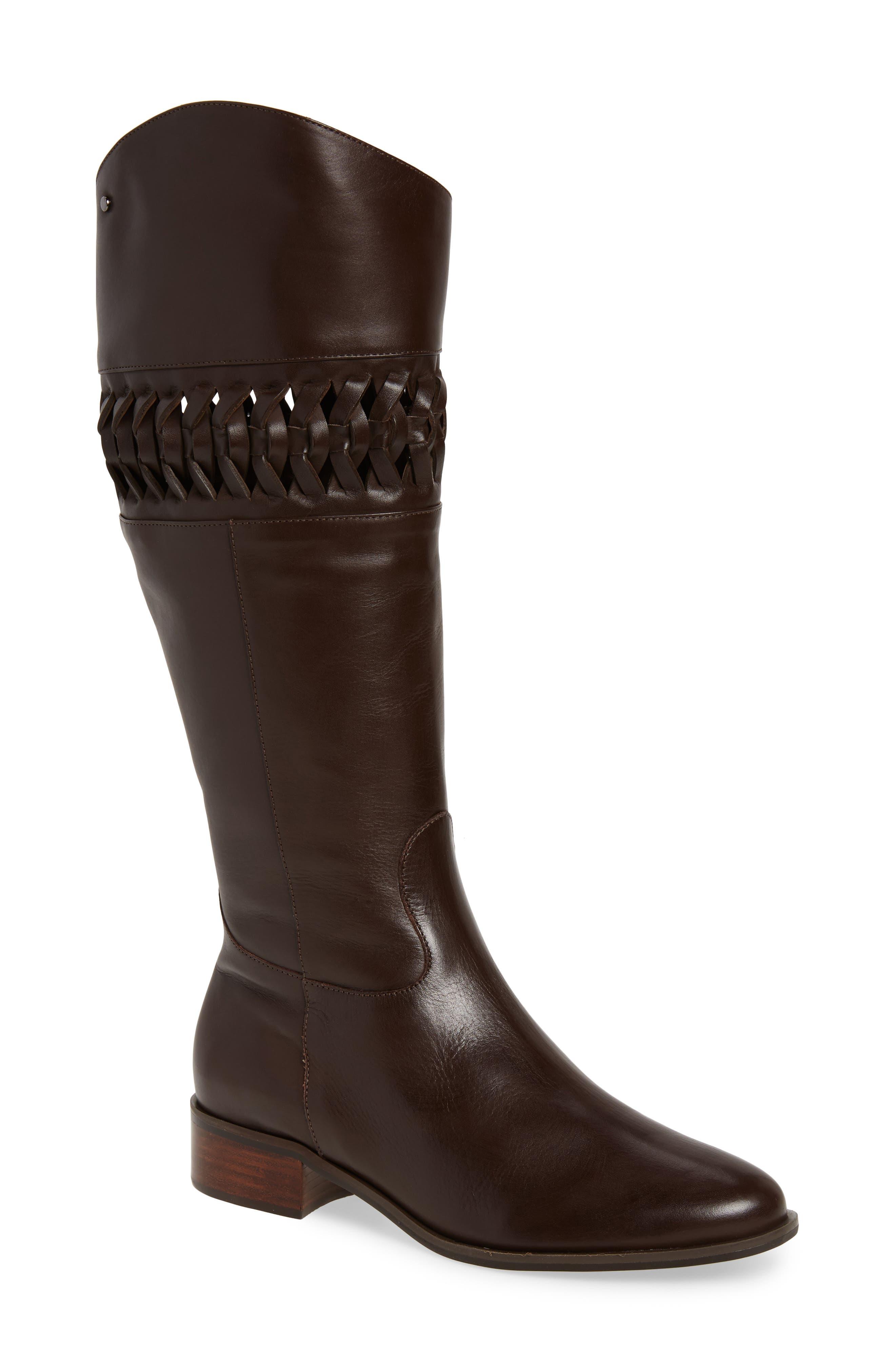 Zezette Woven Boot,                         Main,                         color, Cafe Leather