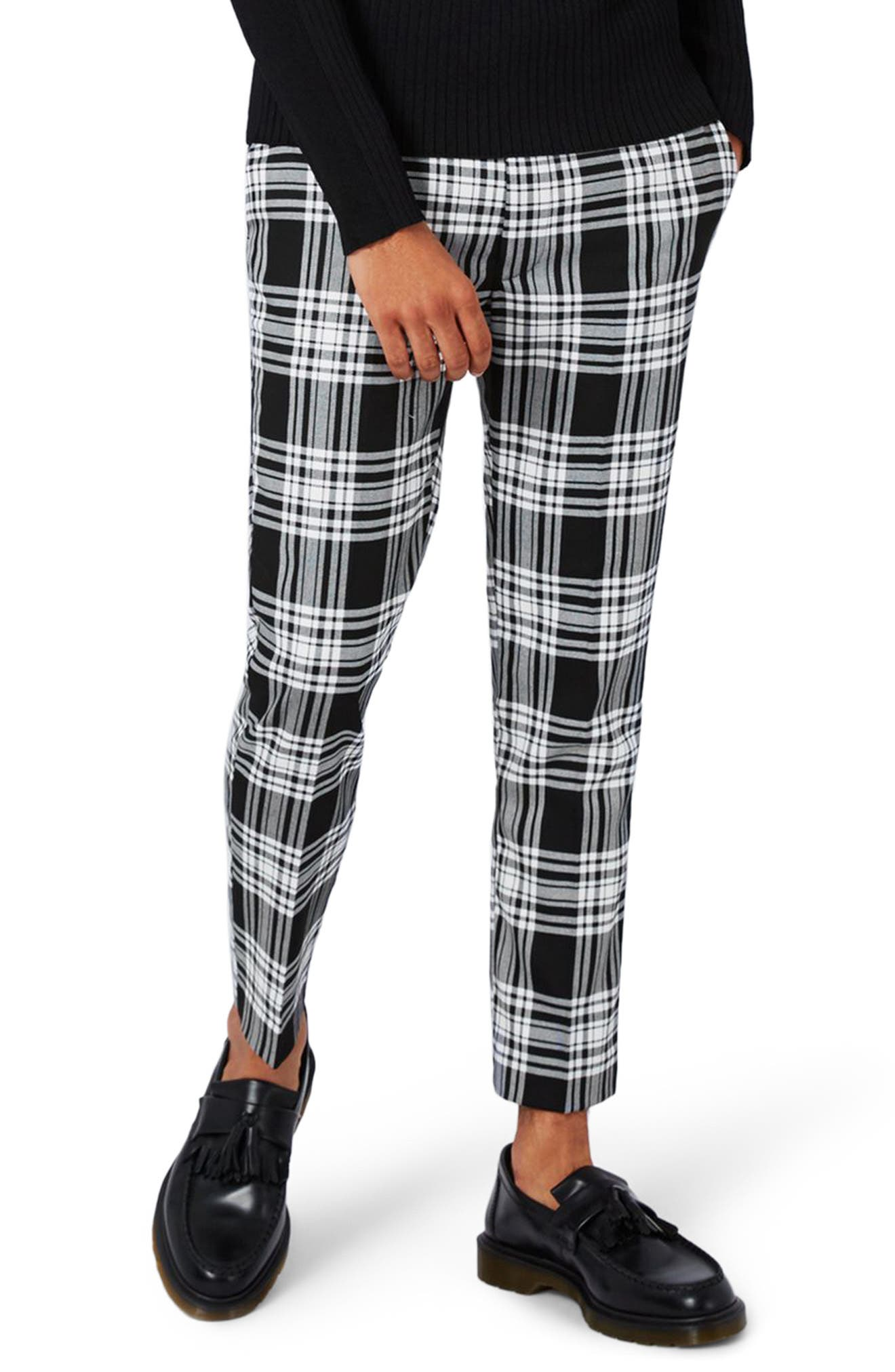Topman Plaid Ultra Skinny Fit Crop Trousers