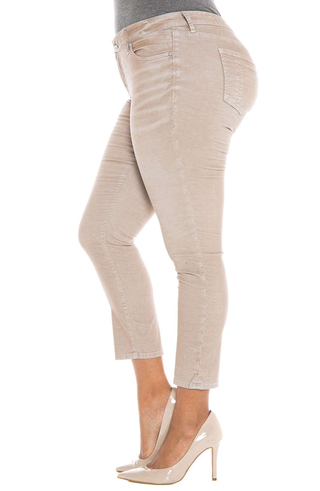 Alternate Image 5  - SLINK Jeans Stretch Corduroy Cropped Skinny Pants (Plus Size)