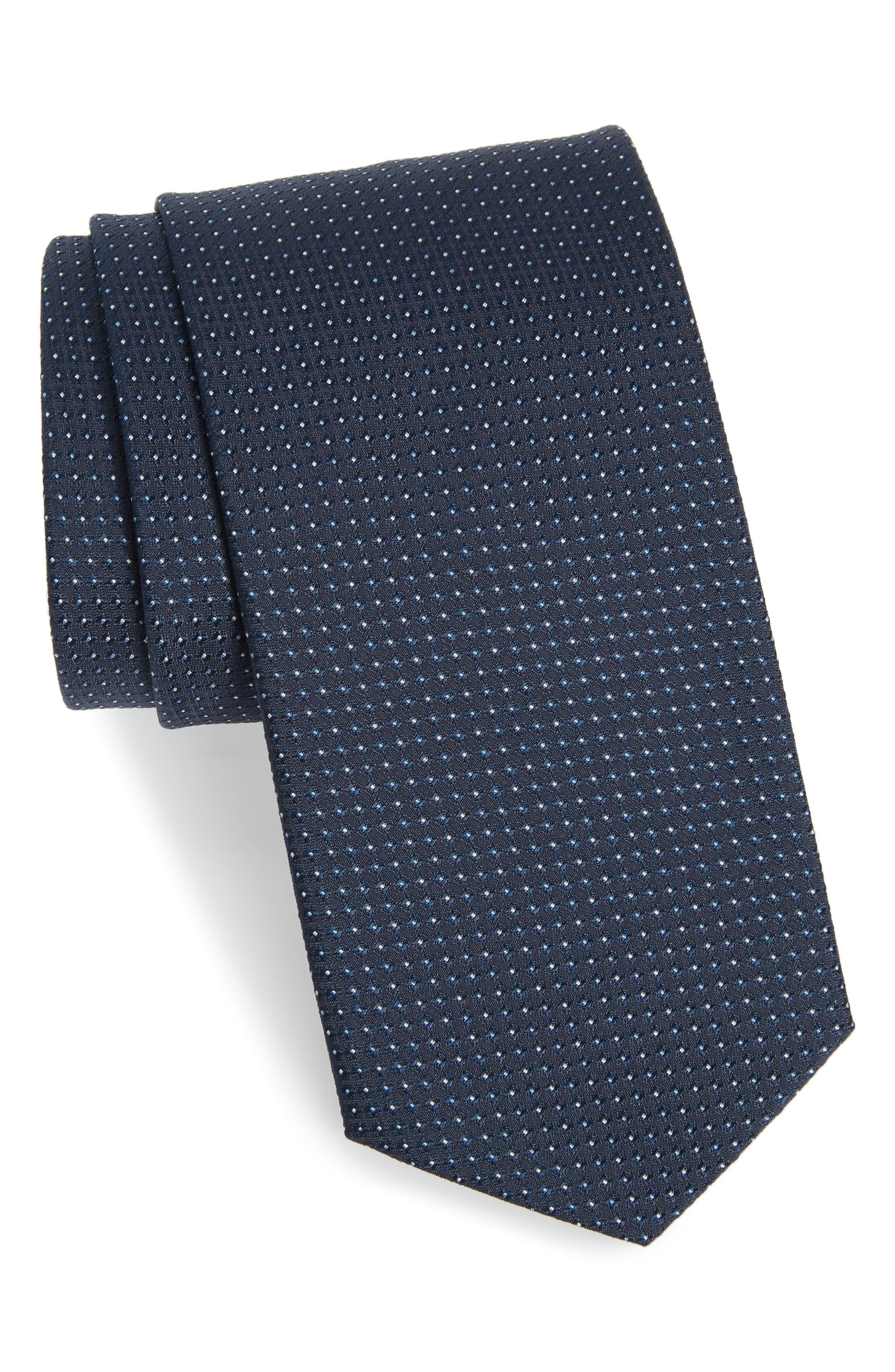 Dot Silk Tie,                         Main,                         color, Bright Blue