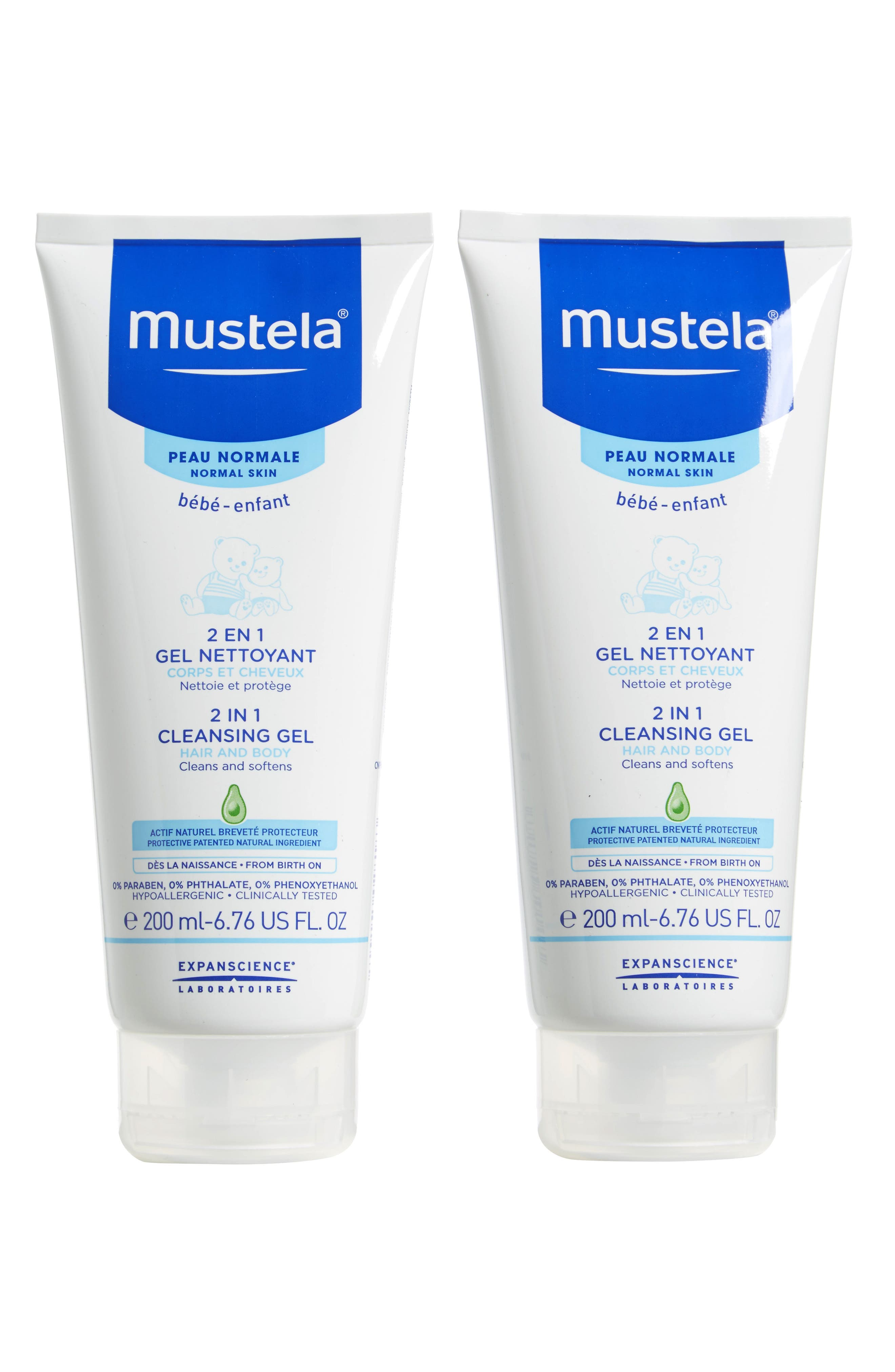 Alternate Image 1 Selected - Mustela® 2-Pack 2-in-1 Cleansing Gel for Hair