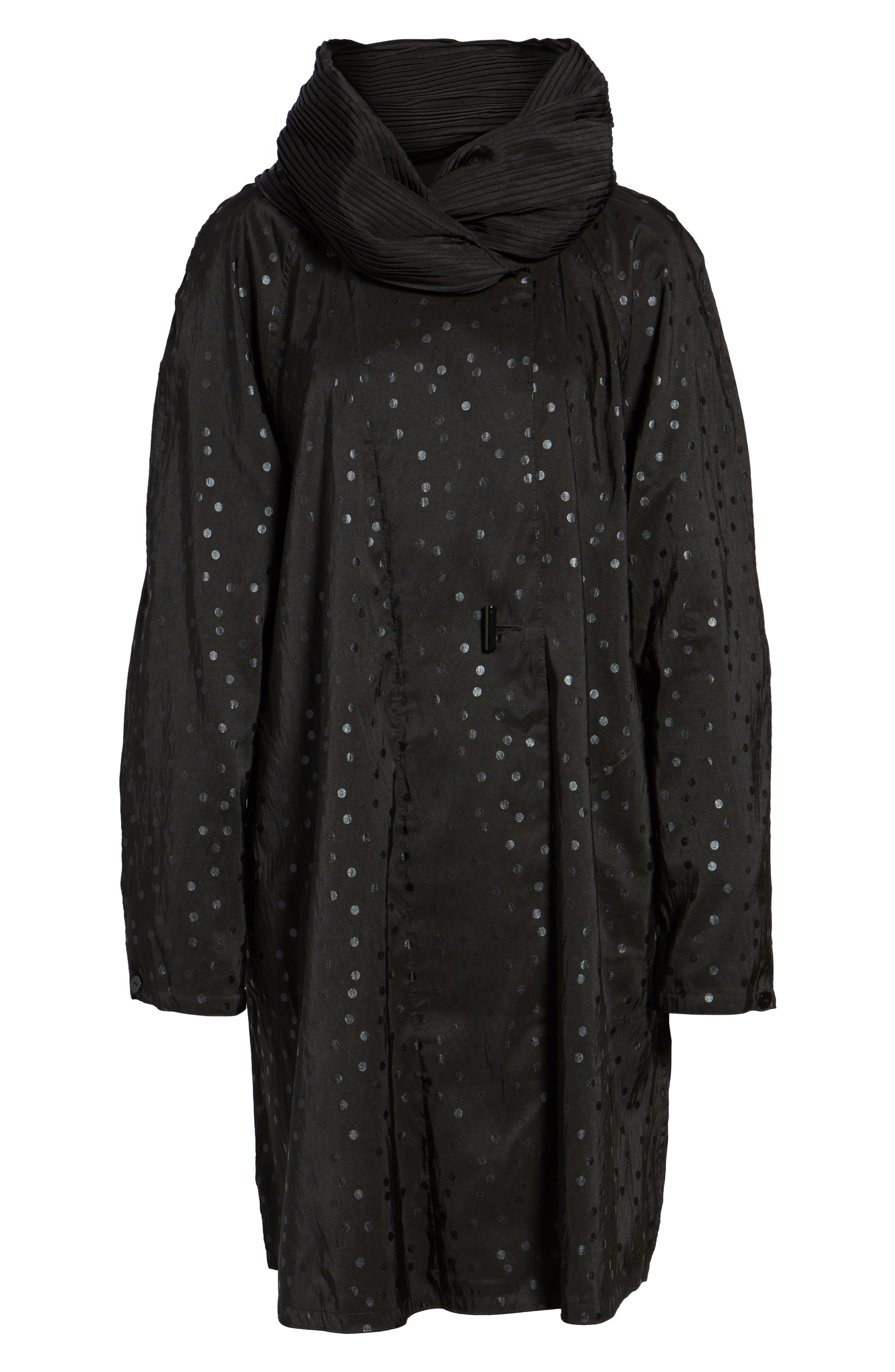 'Donatella' Reversible Dot Pleat Hood Packable Travel Coat,                             Alternate thumbnail 6, color,                             Black Dot