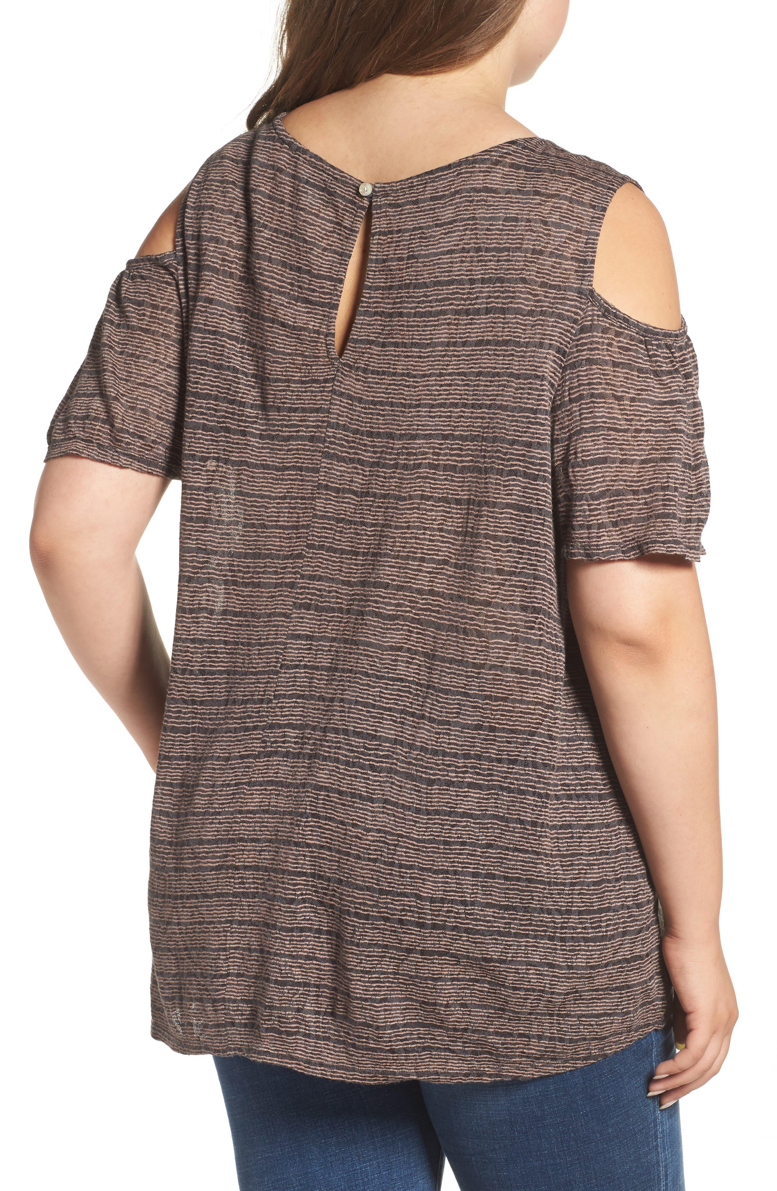 Alternate Image 2  - Lucky Brand Stripe Cold Shoulder Top (Plus Size)