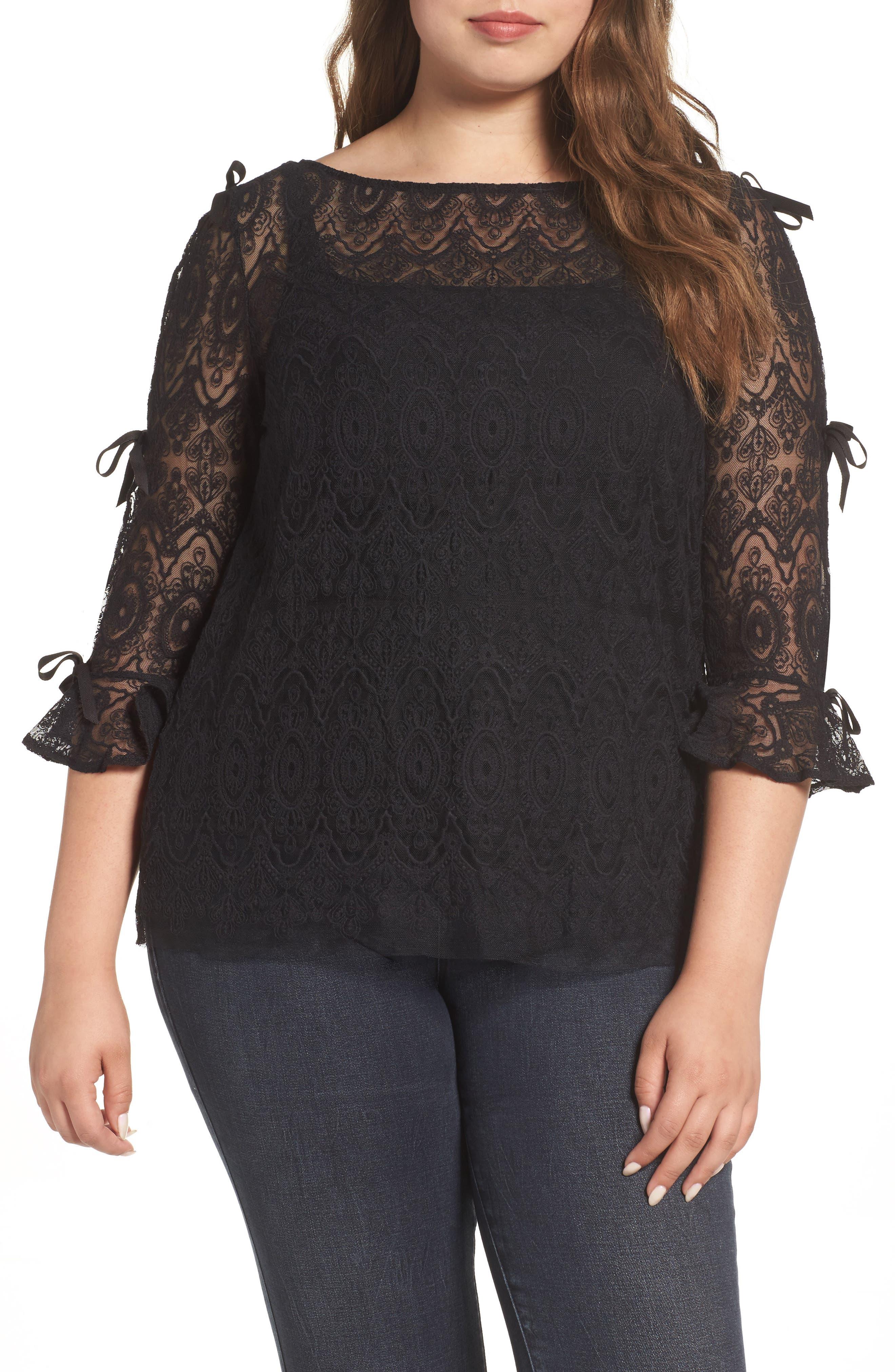 ELVI Bow Lace Sleeve Top (Plus Size)