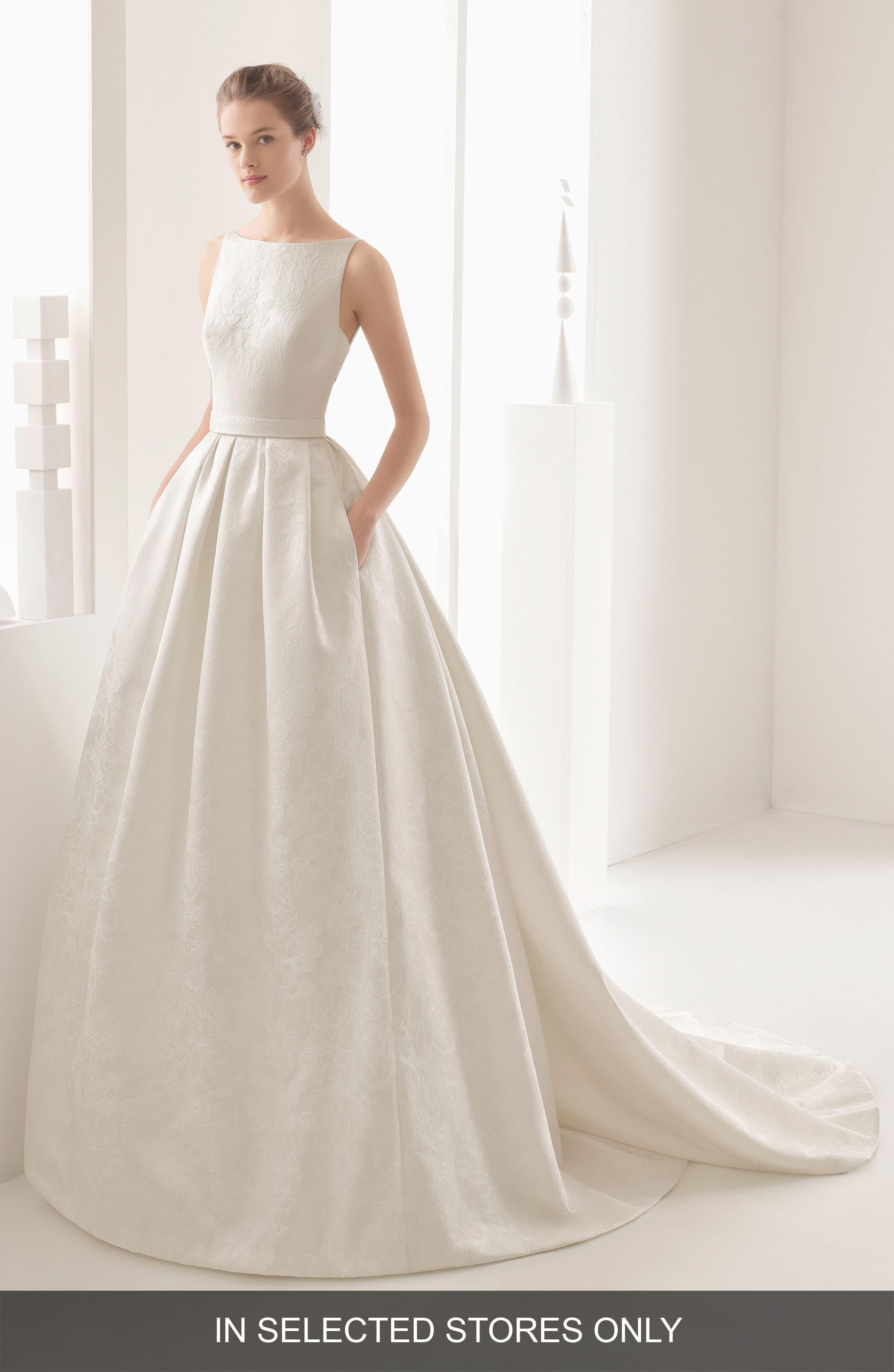 Rosa Clara Couture Nazar Floral Brocade Sleeveless Gown