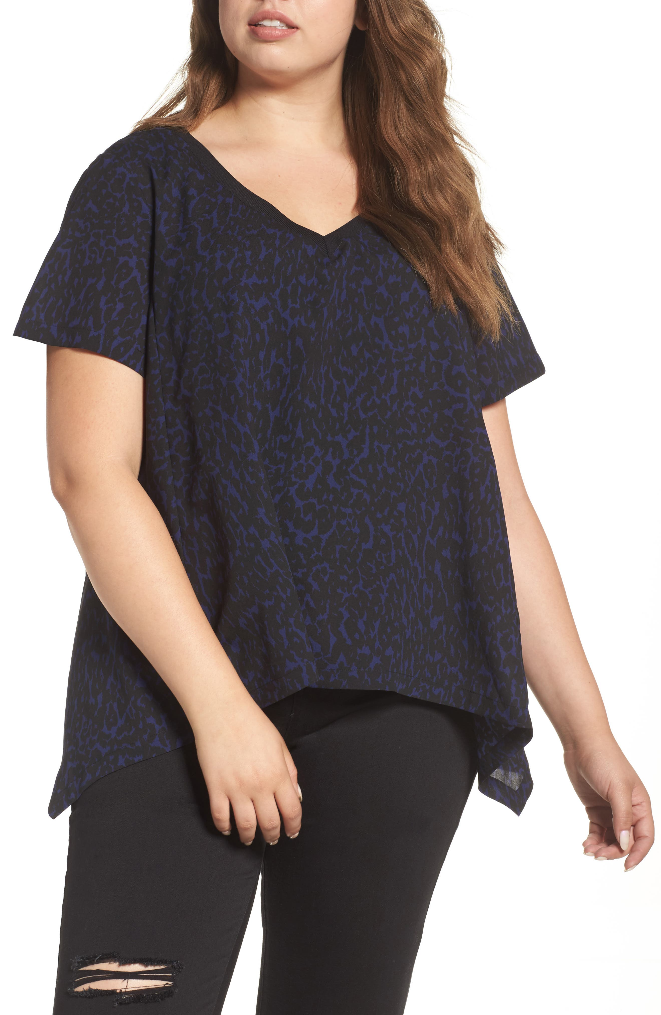 Print Georgette Tee,                         Main,                         color, Midnight Leopard