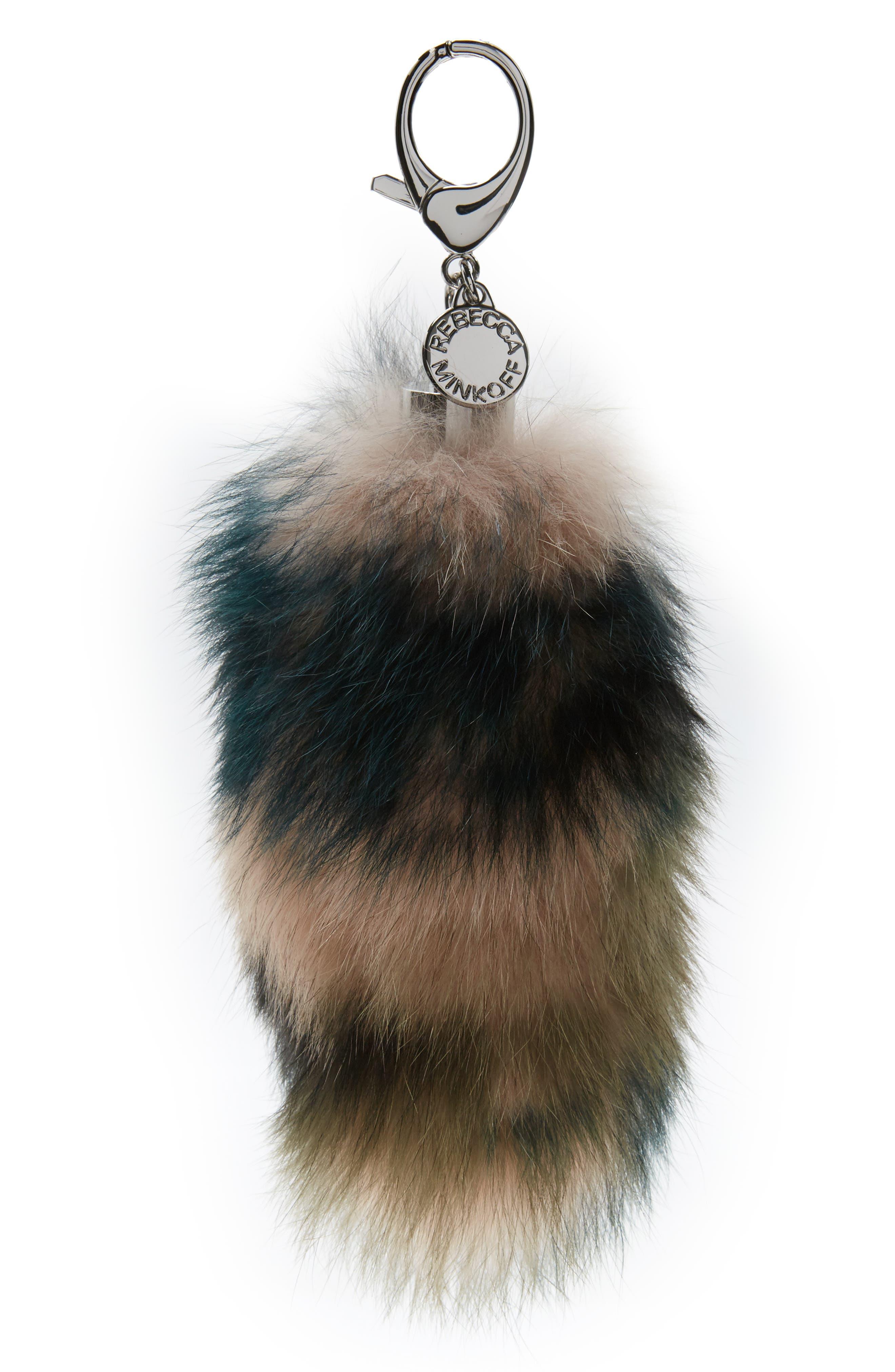 Genuine Fox Fur Bag Charm,                             Main thumbnail 1, color,                             Pink/ Green Combo