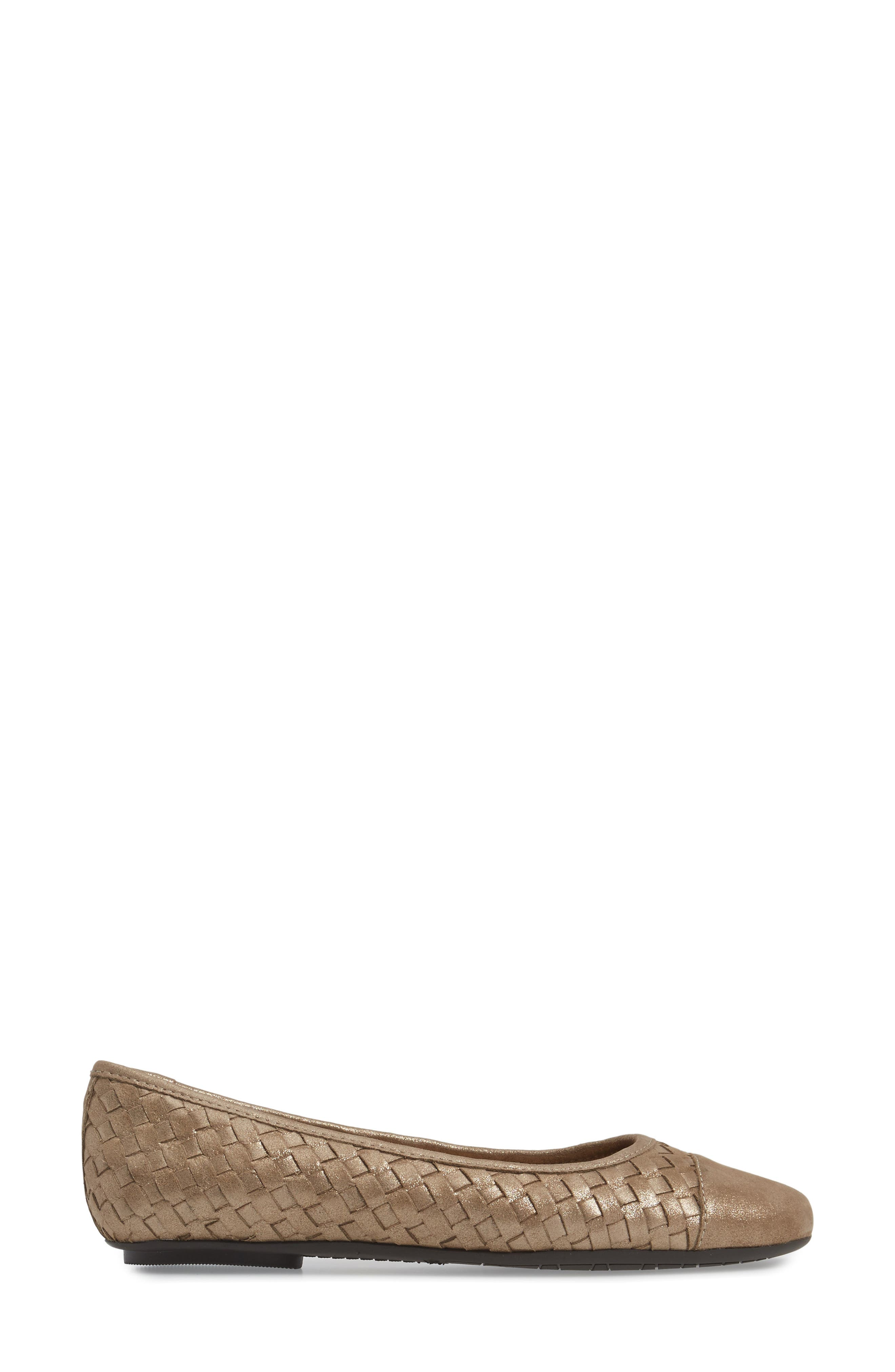 Shera Woven Skimmer Flat,                             Alternate thumbnail 3, color,                             Taupe Suede