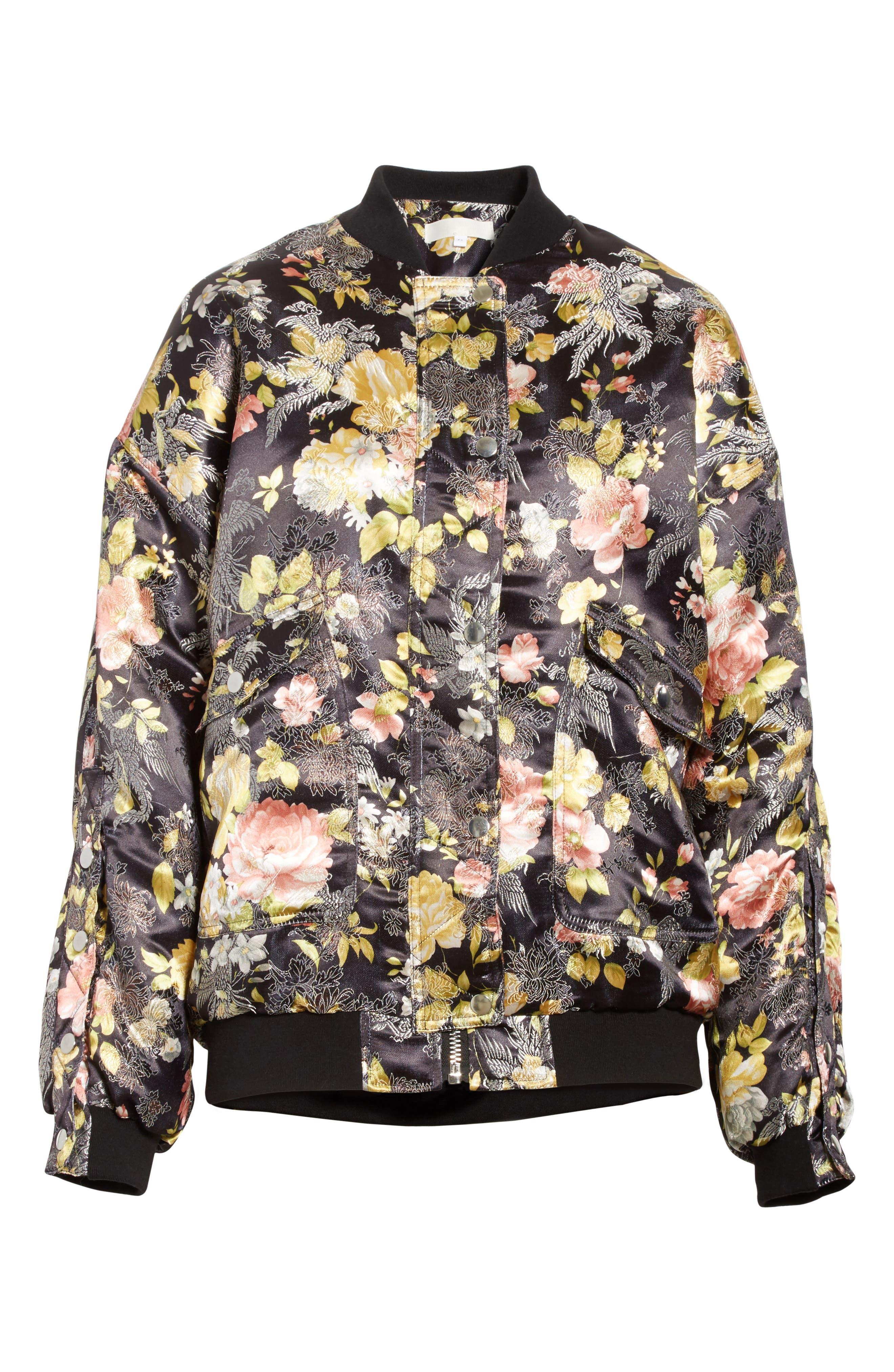 Floral Jacquard Bomber Jacket,                             Alternate thumbnail 6, color,                             Black Combo