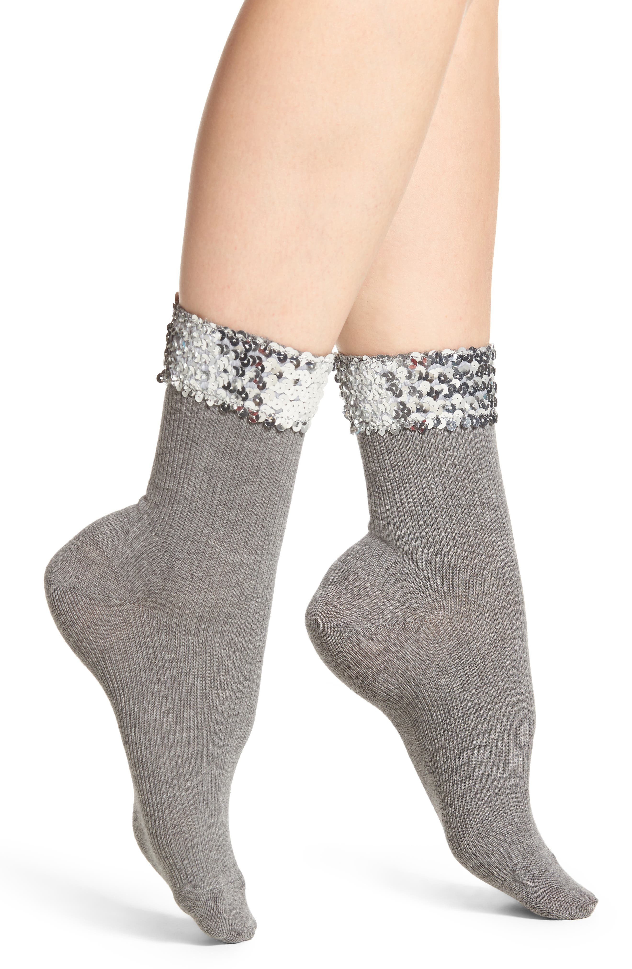 Sequin Cuff Crew Socks,                             Main thumbnail 1, color,                             Grey
