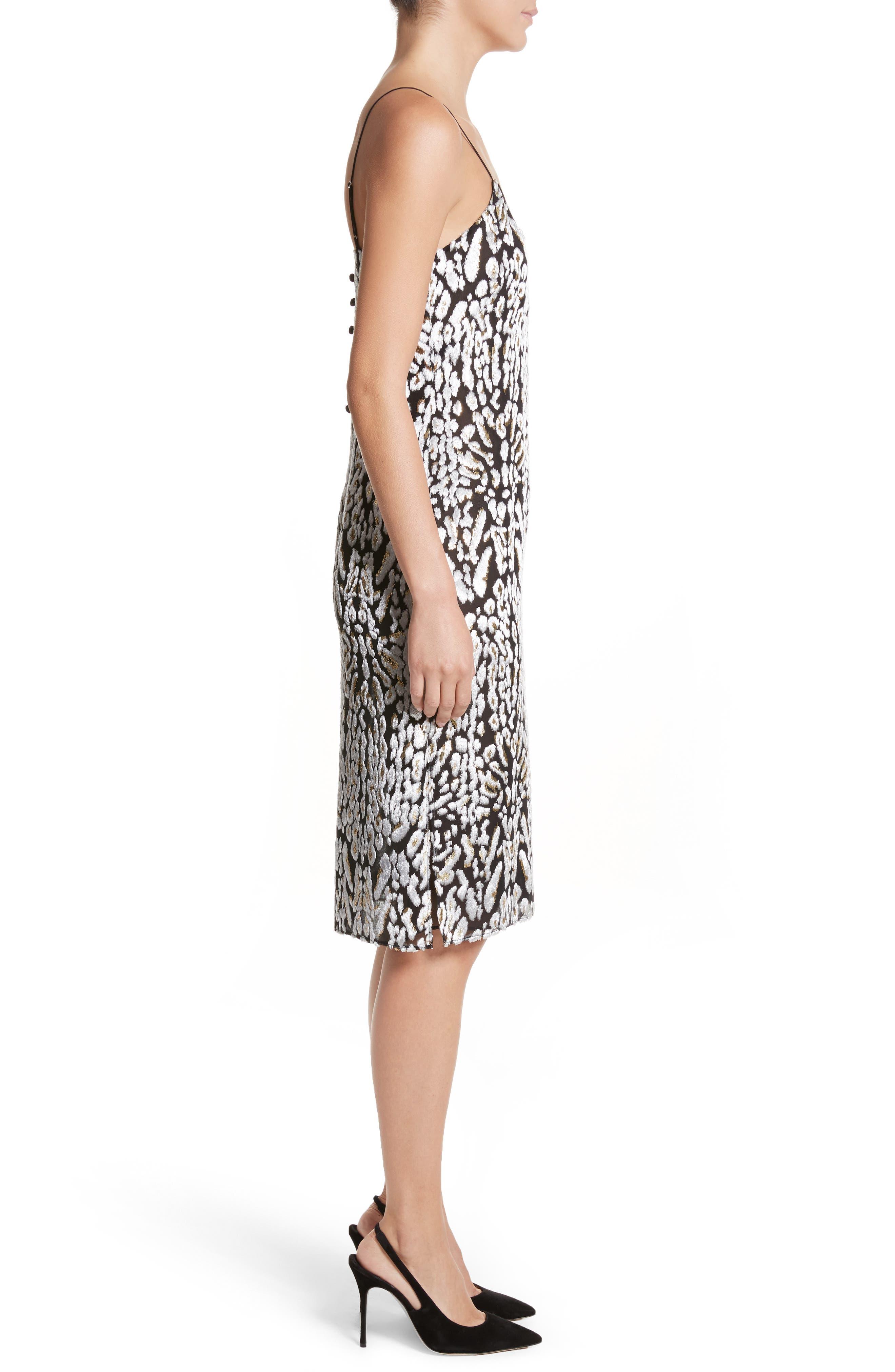 Ocelot Velvet Jacquard Dress,                             Alternate thumbnail 3, color,                             Black/ Ivory/ Gold