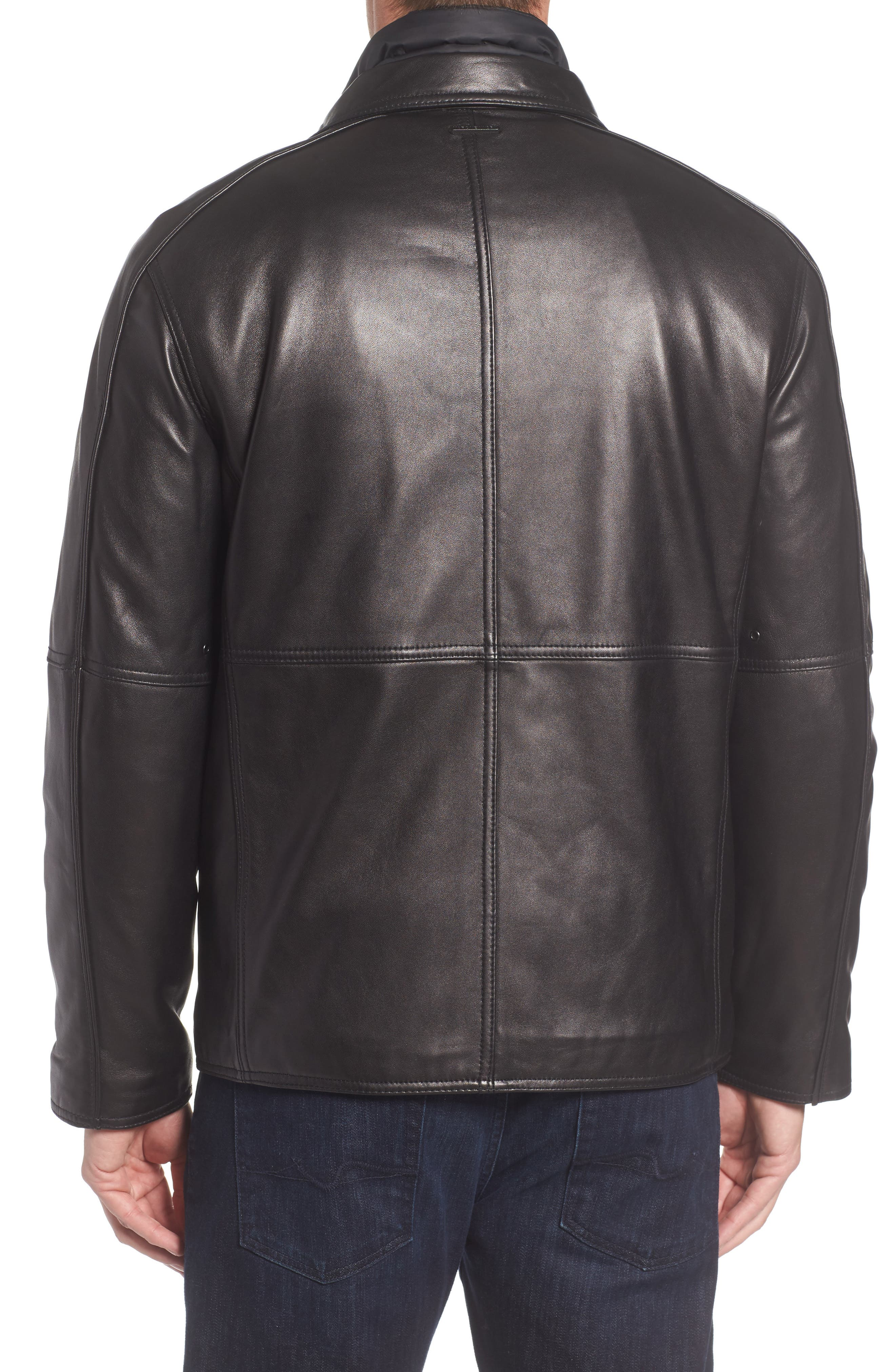 Leather Jacket with Quilted Insert,                             Alternate thumbnail 2, color,                             Black
