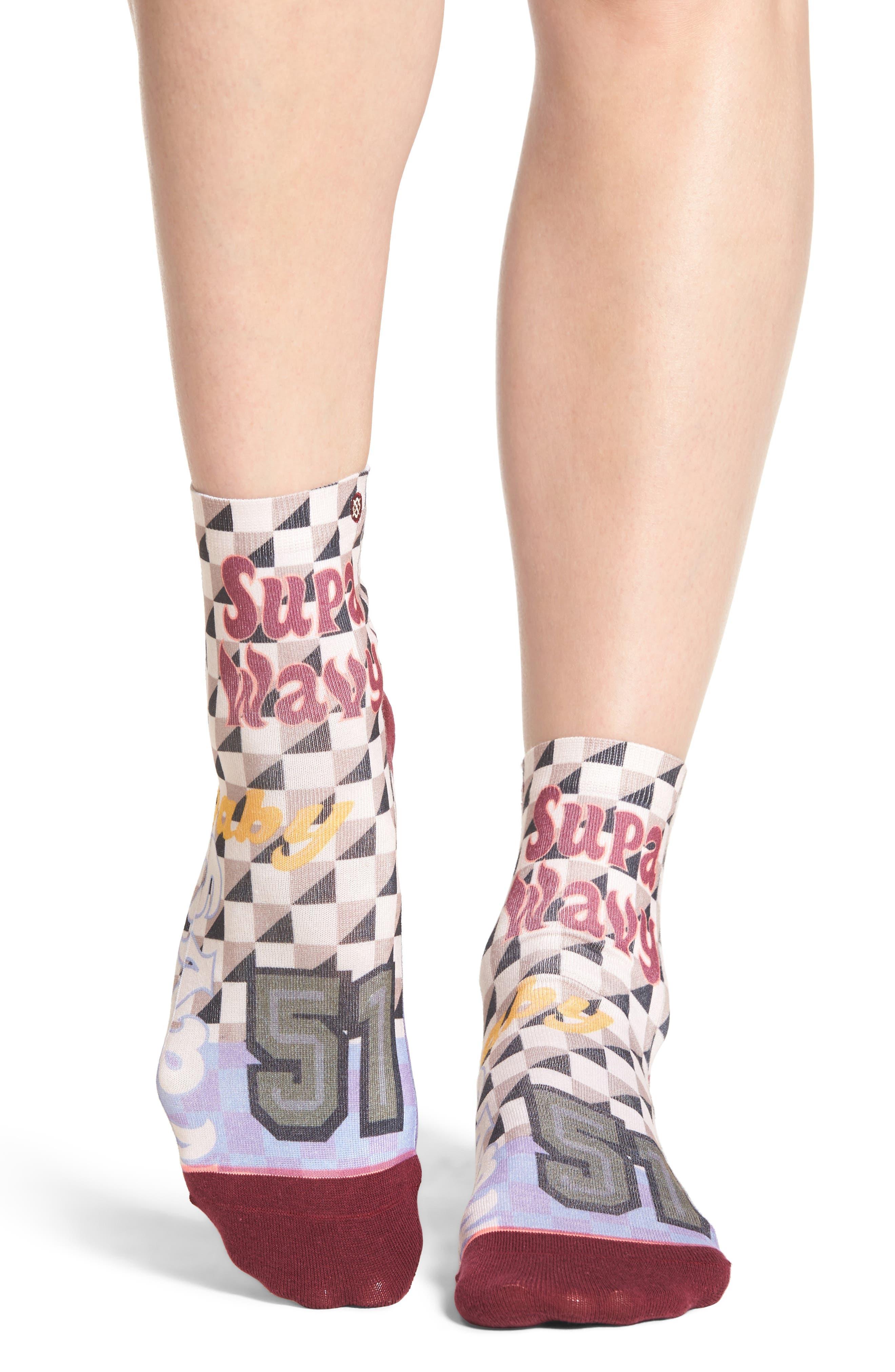 Lowrider Supa Wavy Socks,                             Main thumbnail 1, color,                             White Multi