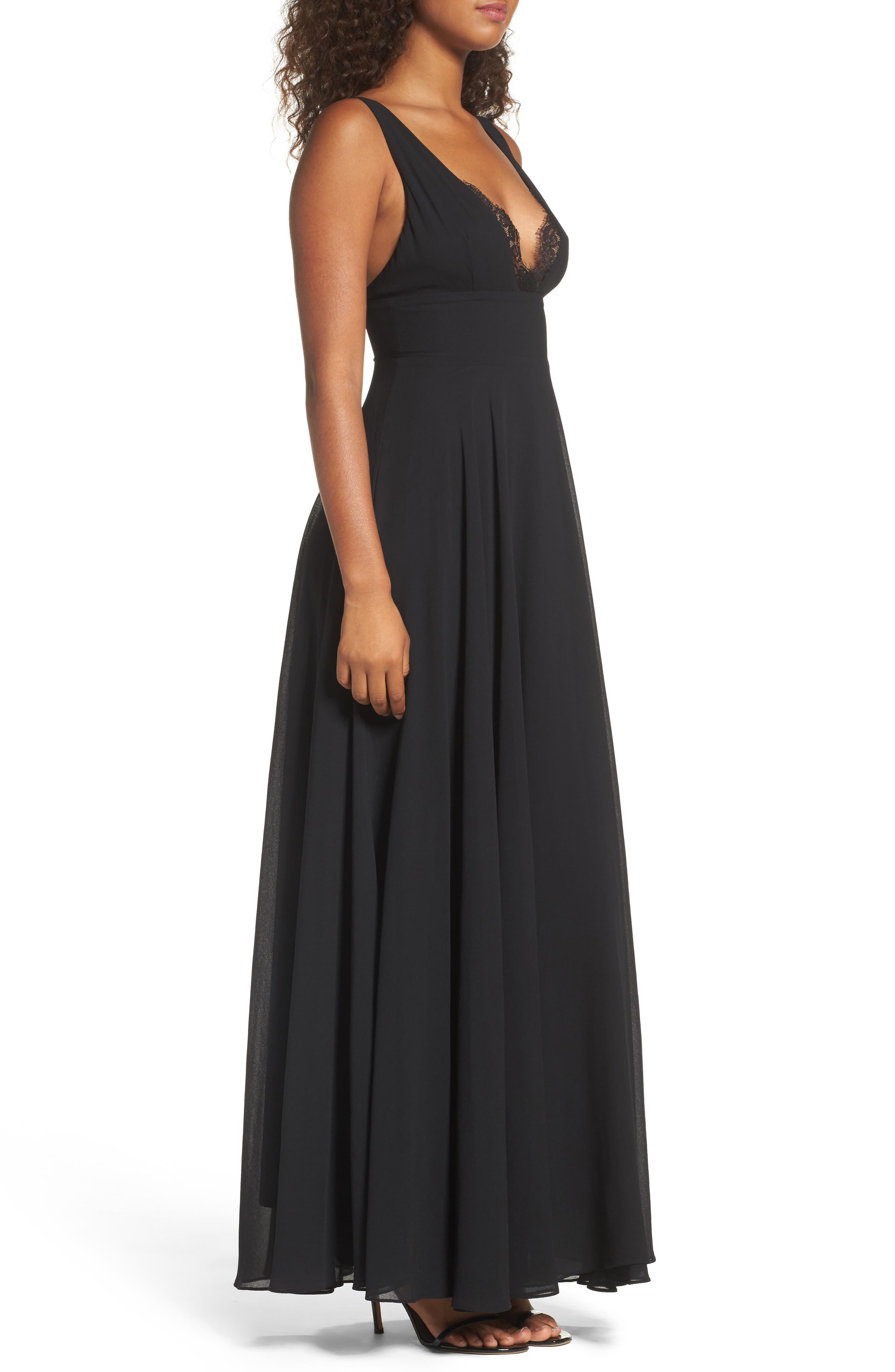 Lace Trim Chiffon Maxi Dress,                             Alternate thumbnail 3, color,                             Black