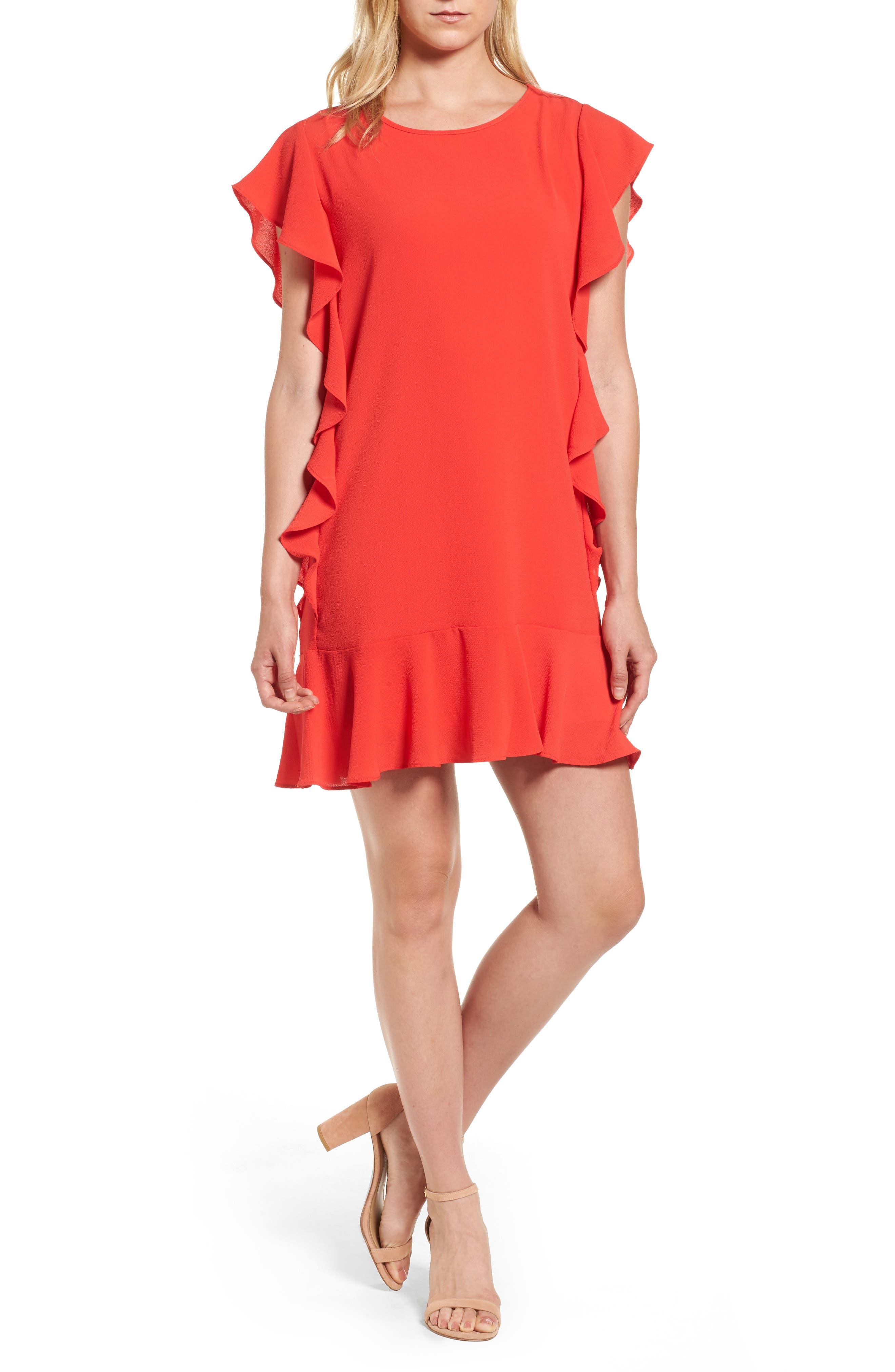 Bobeau Flutter Sleeve Shift Dress (Regular & Petite)