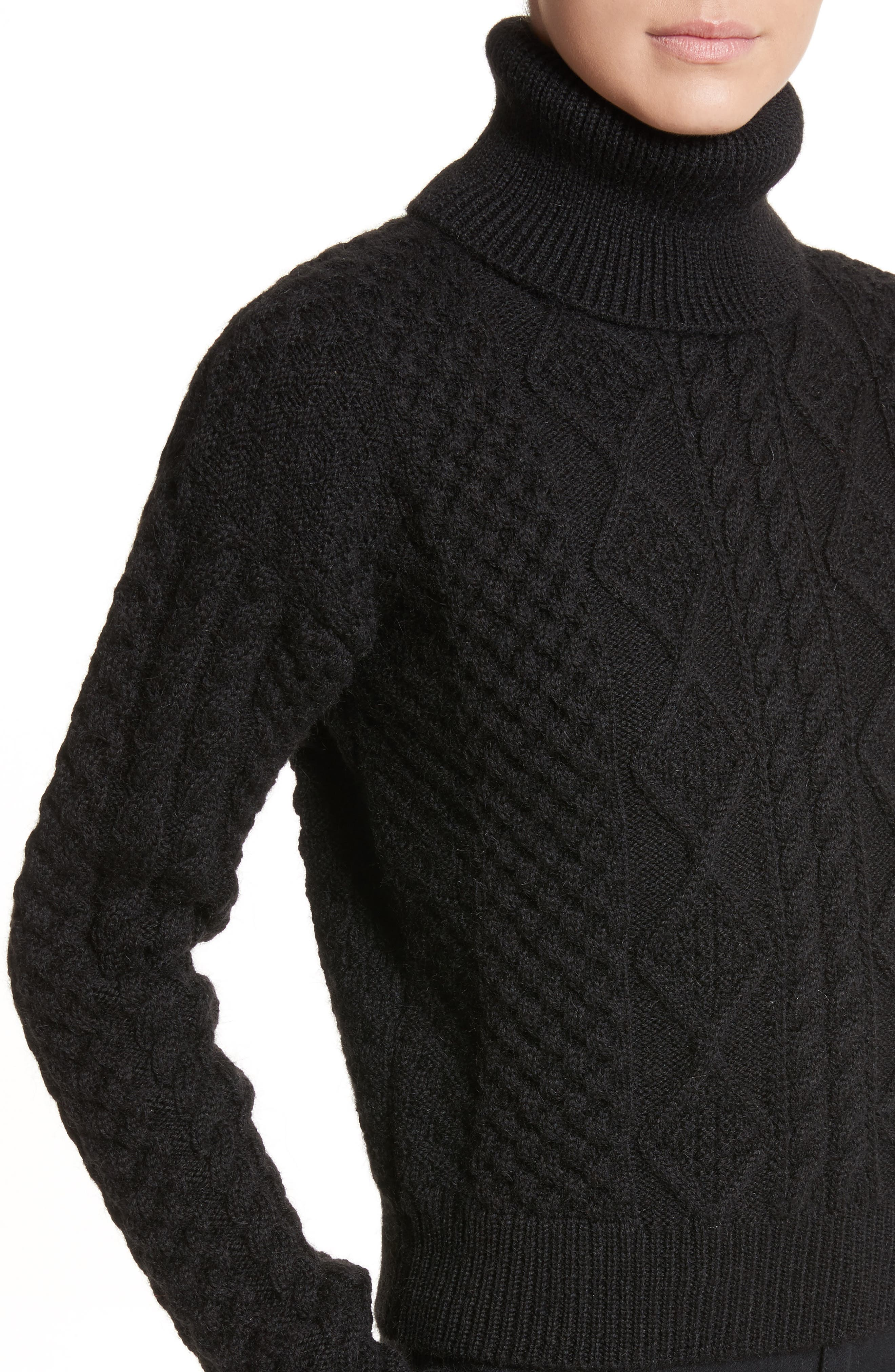 Alternate Image 4  - Saint Laurent Cable Knit Wool Turtleneck Sweater