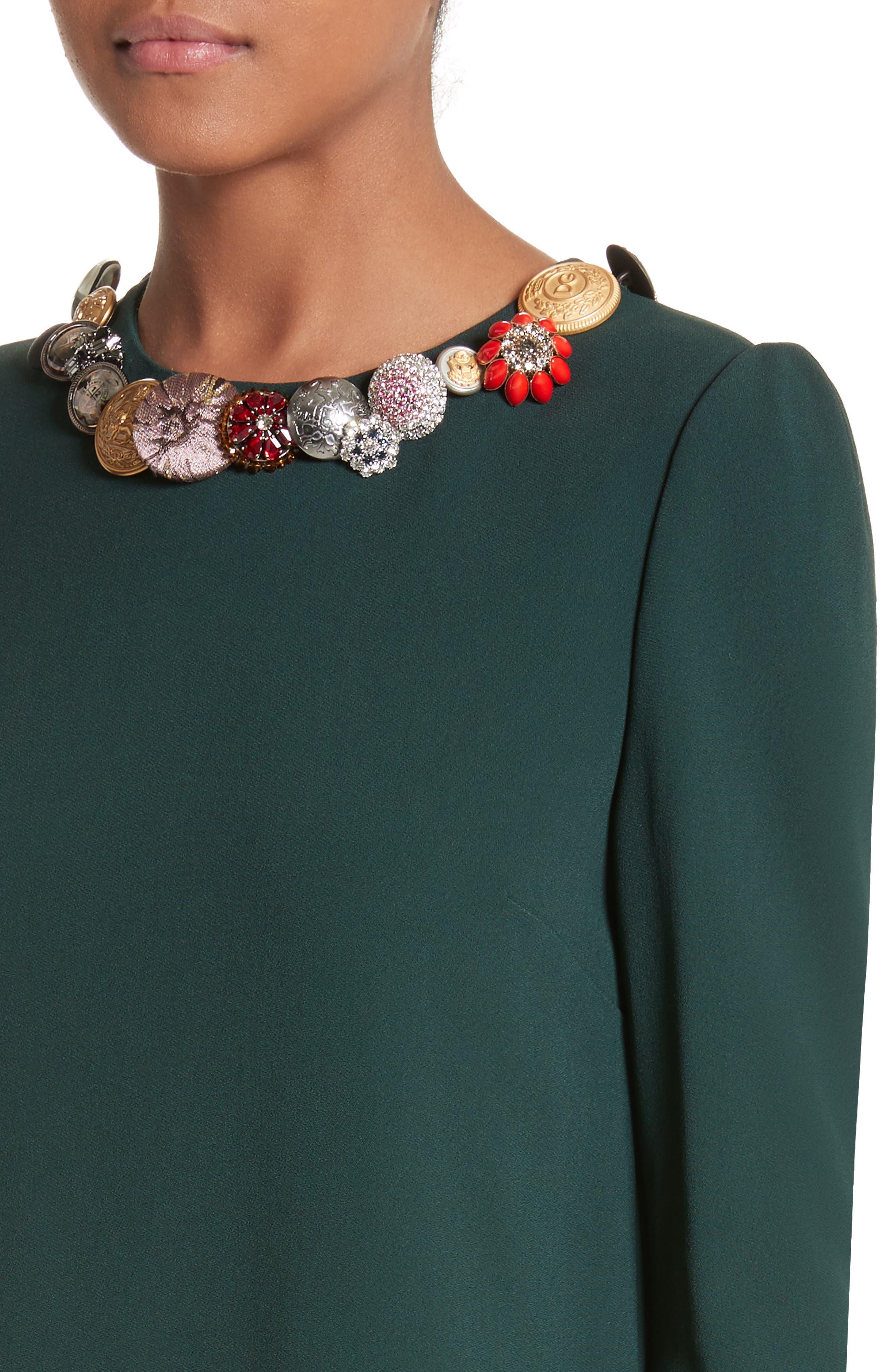 Button Trim Ruffle Hem Dress,                             Alternate thumbnail 4, color,                             Dark Green