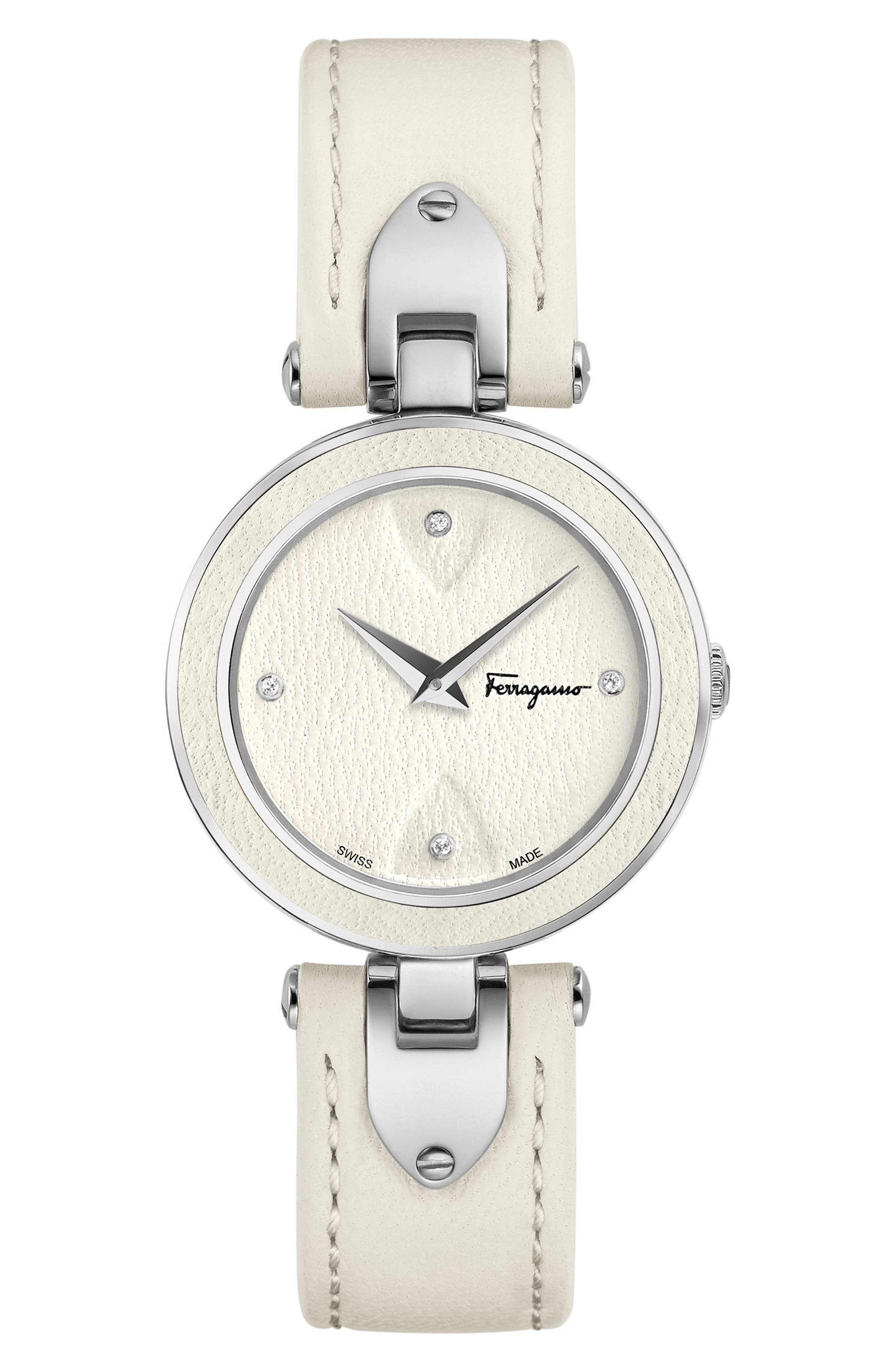 Salvatore Ferragamo Giglio Leather Strap Watch, 32mm