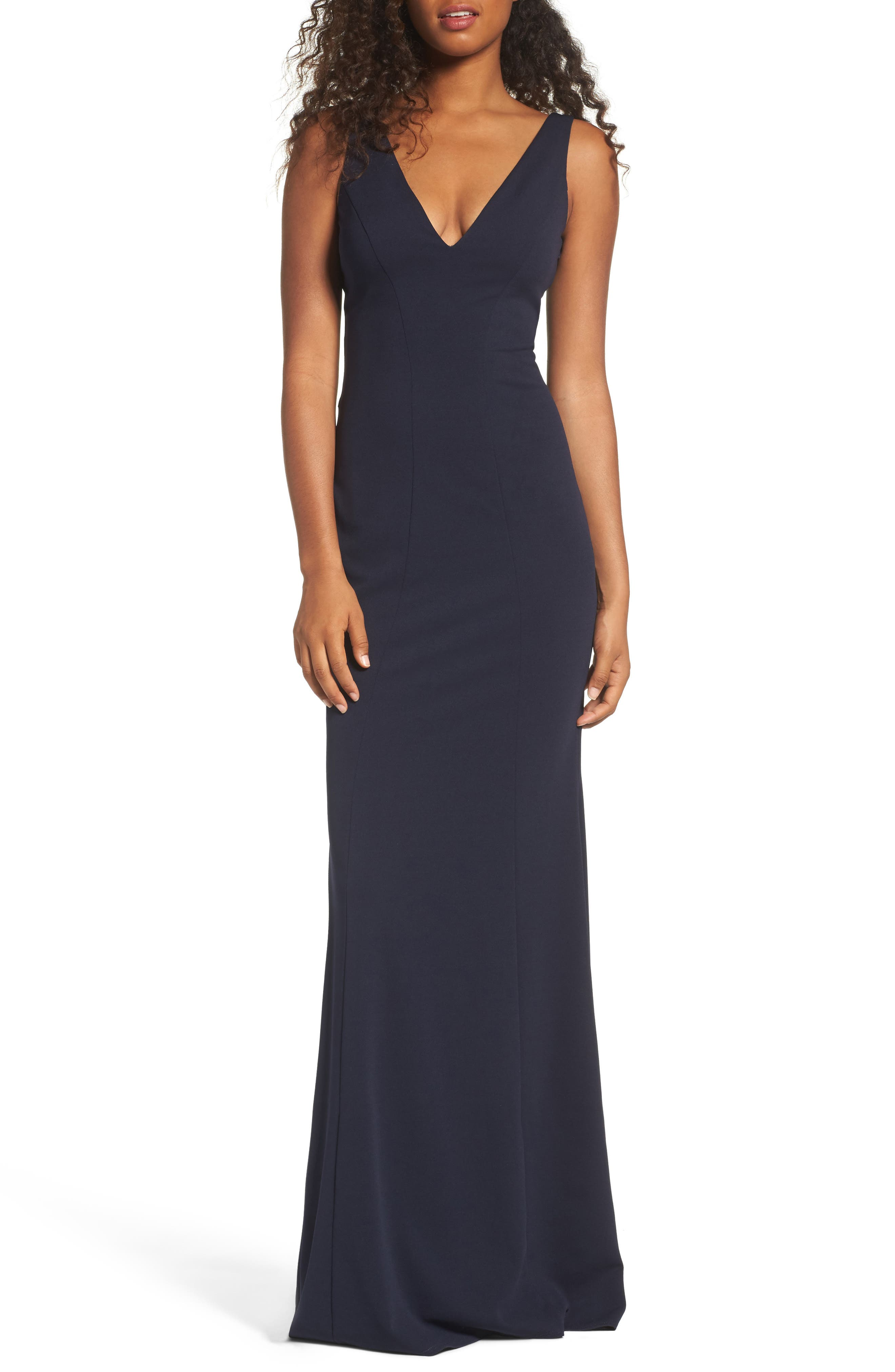Mischka V-Neck Crepe Gown,                             Main thumbnail 1, color,                             Navy