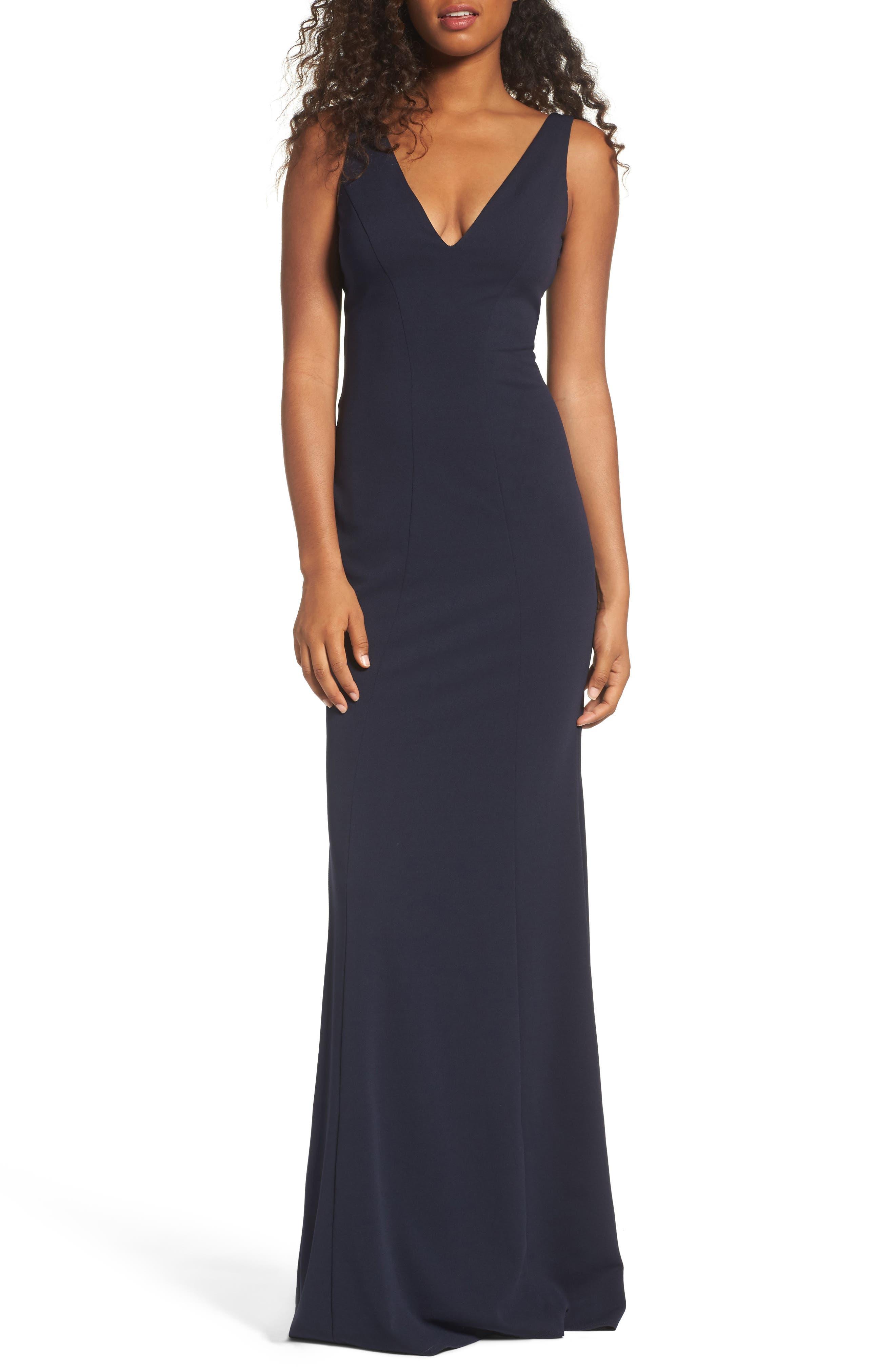 Mischka V-Neck Crepe Gown,                         Main,                         color, Navy