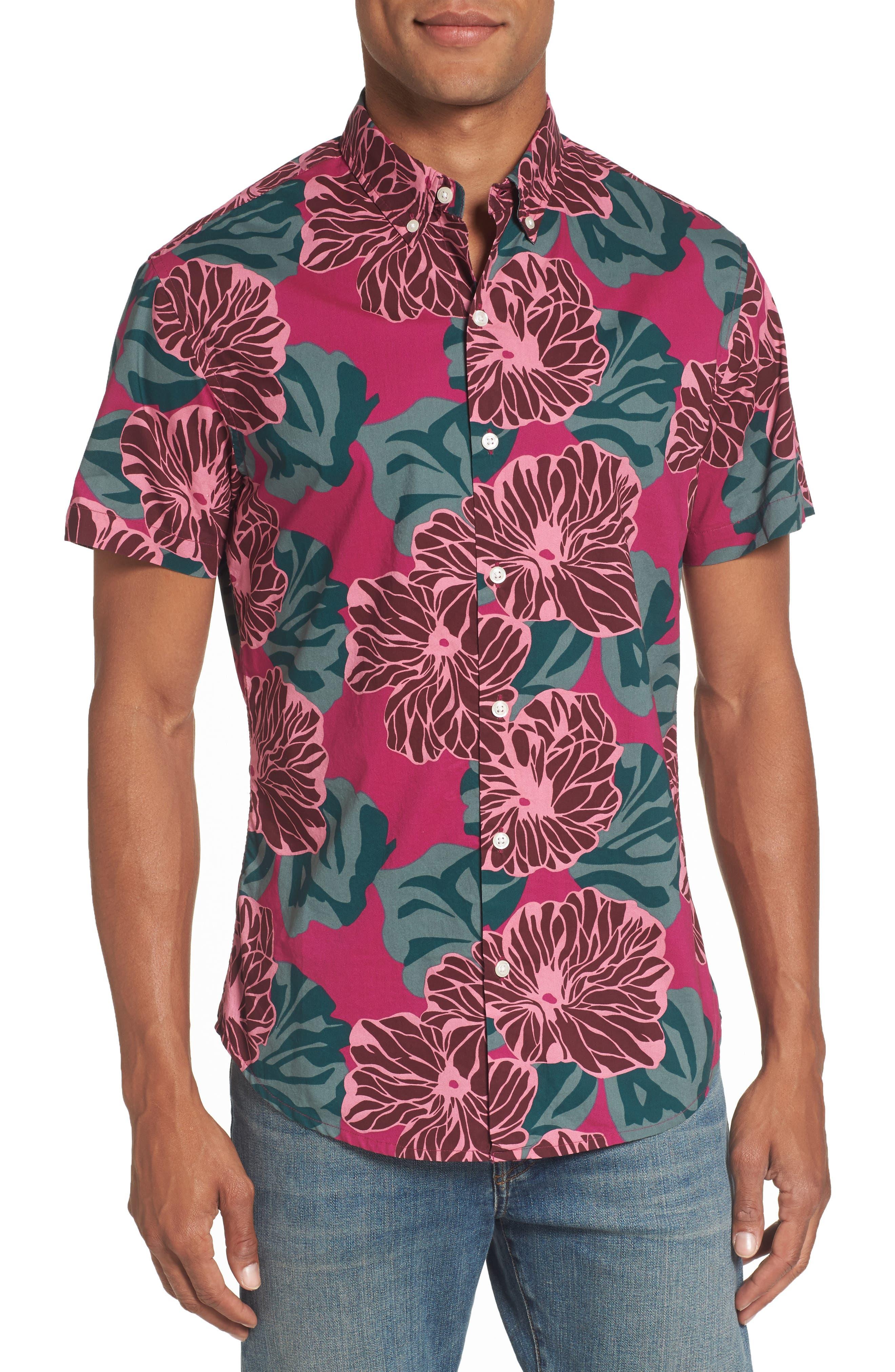 Riviera Slim Fit Short Sleeve Sport Shirt,                         Main,                         color, Mojave Floral