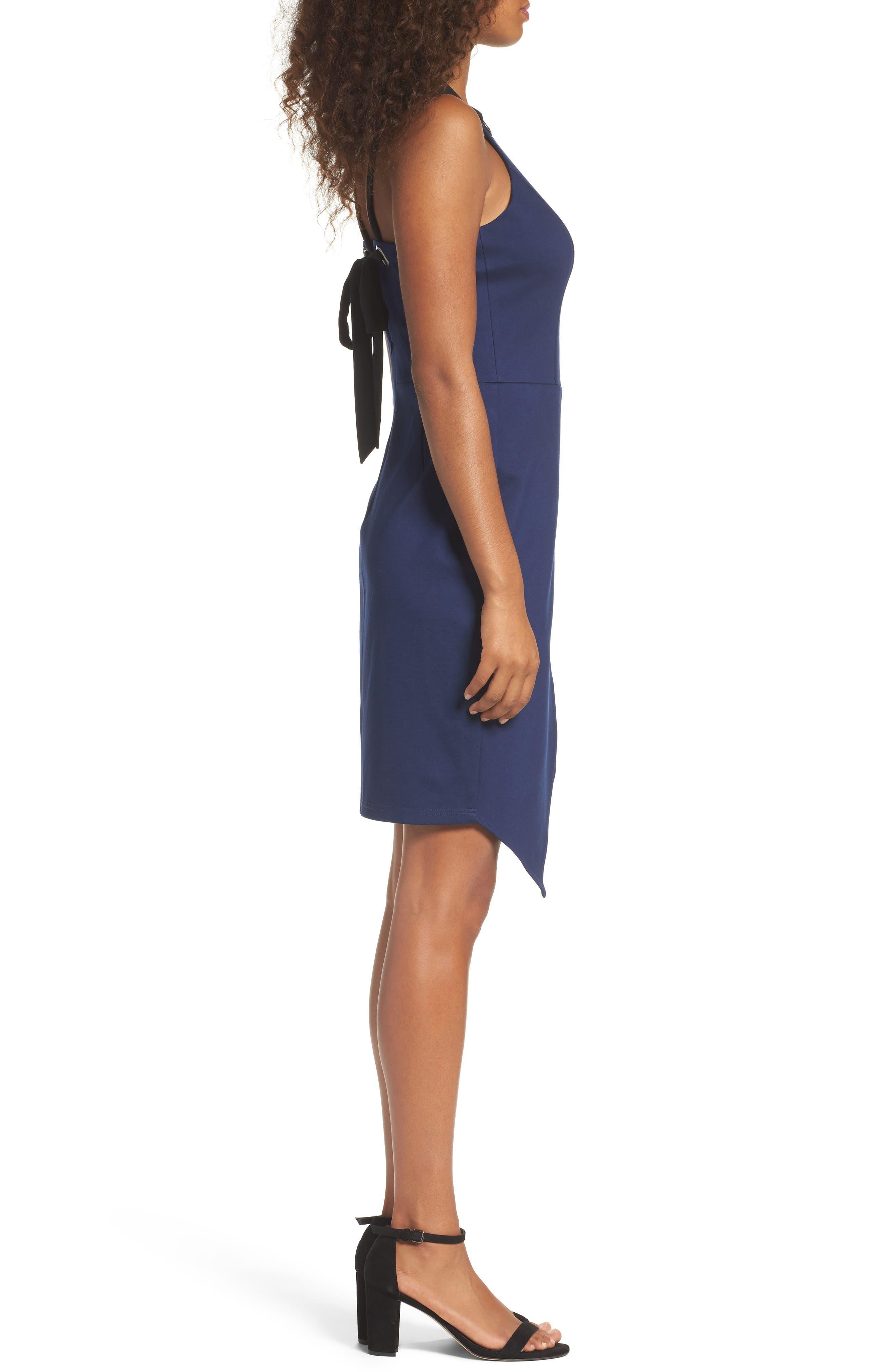 Brandi Tie Back Sheath Dress,                             Alternate thumbnail 3, color,                             Navy