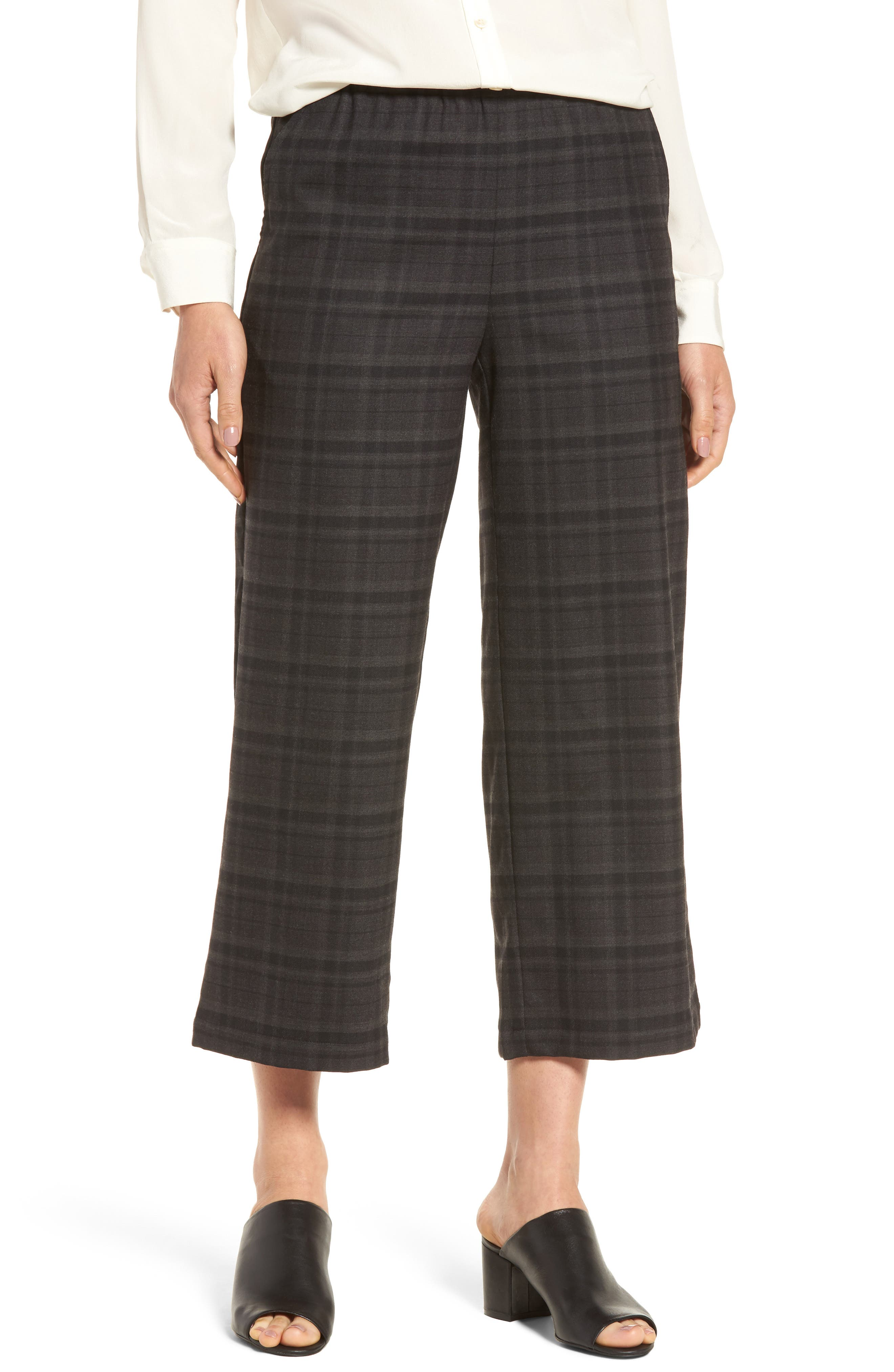 Main Image - Eileen Fisher Wide Leg Plaid Crop Pants