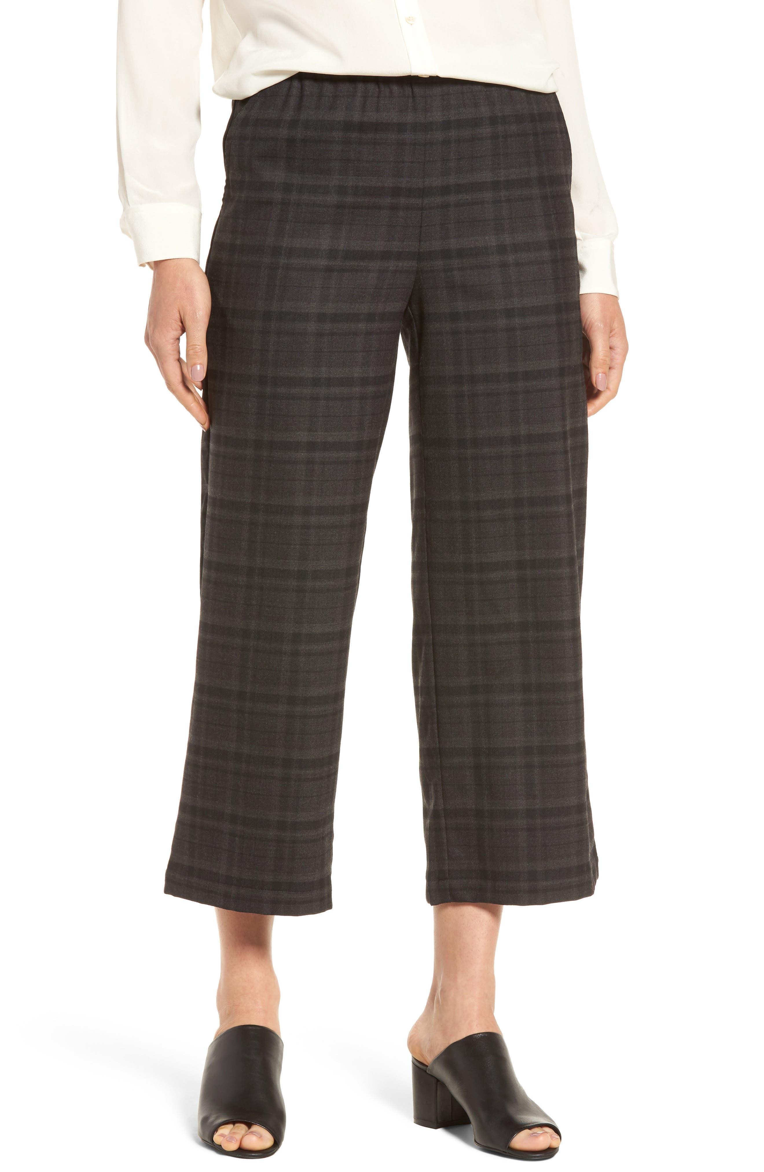 Eileen Fisher Wide Leg Plaid Crop Pants