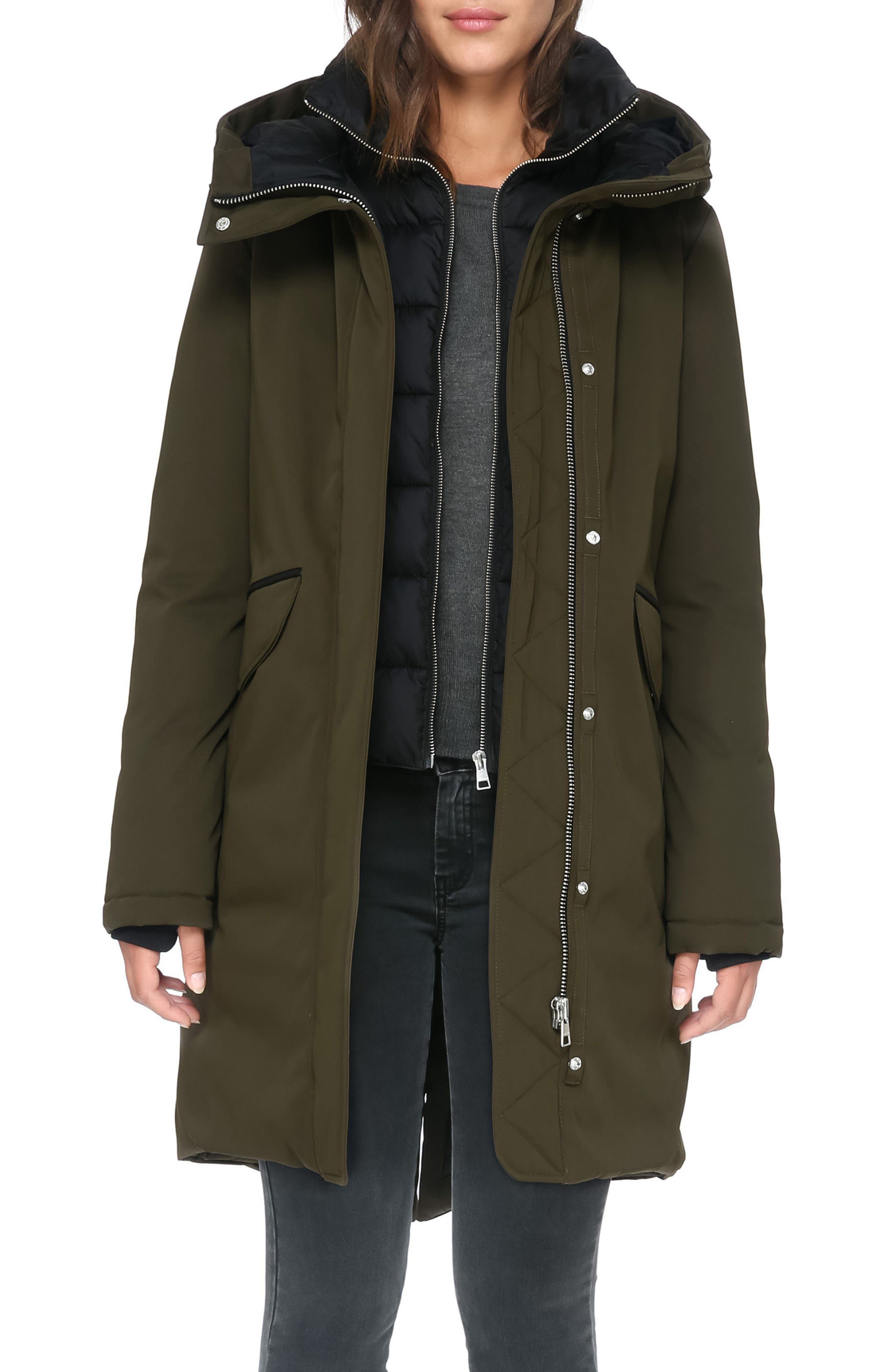 Genuine Coyote Fur Hooded Down Parka,                             Alternate thumbnail 5, color,                             Army
