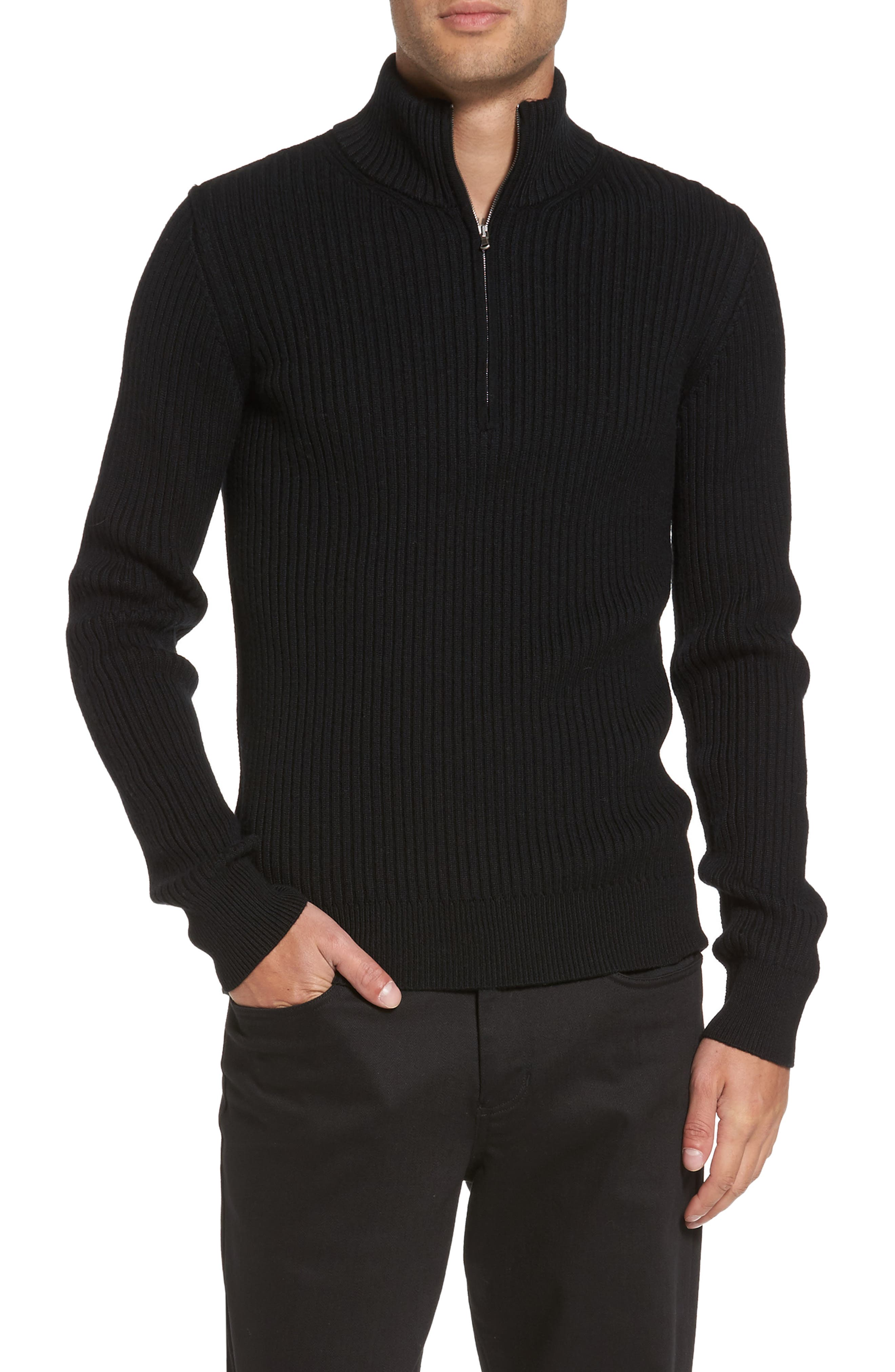 Ribbed Quarter Zip Mock Neck Sweater,                         Main,                         color, Black