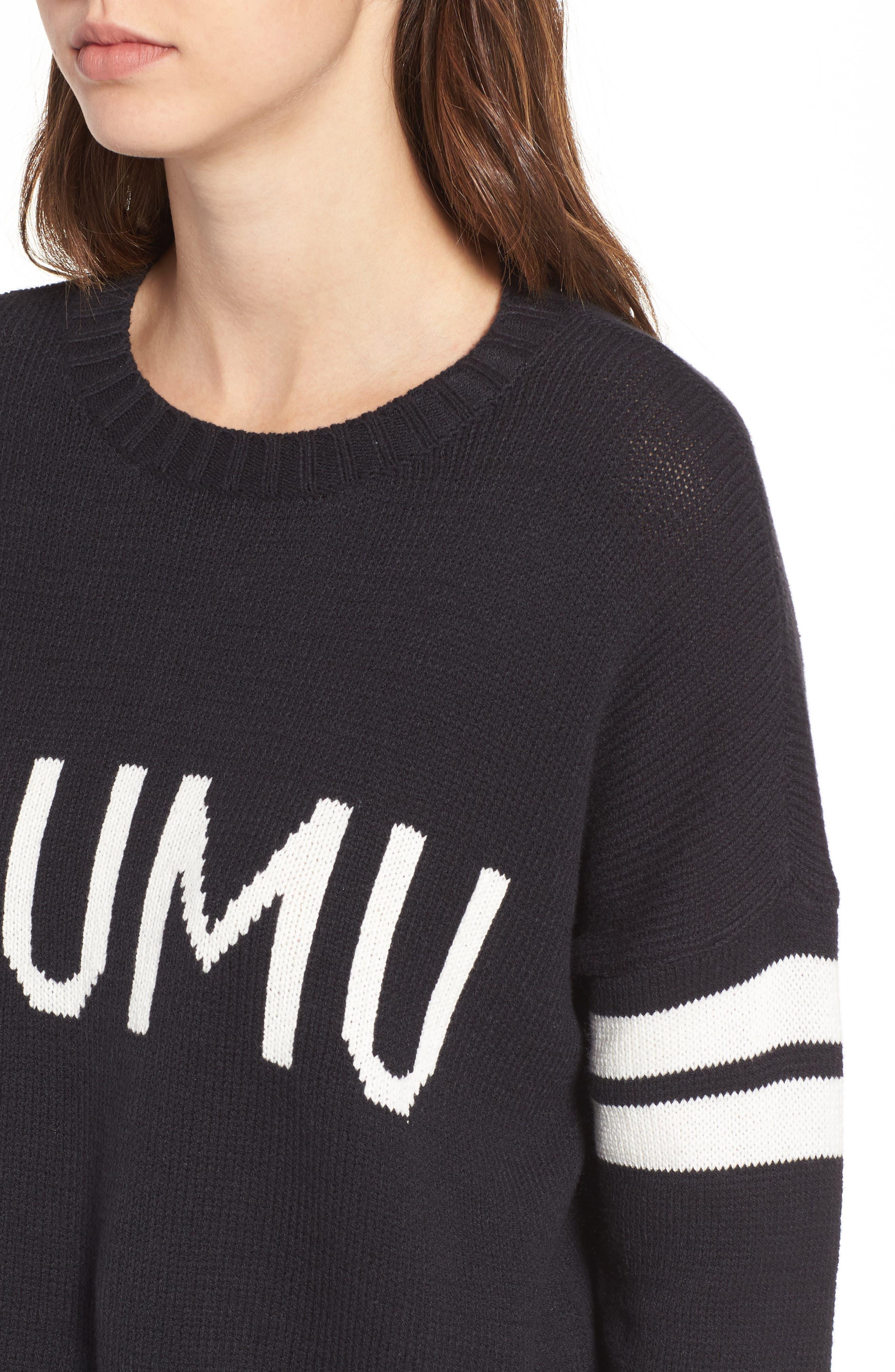 Crop Varsity Sweater,                             Alternate thumbnail 4, color,                             Mumu Stripe Black