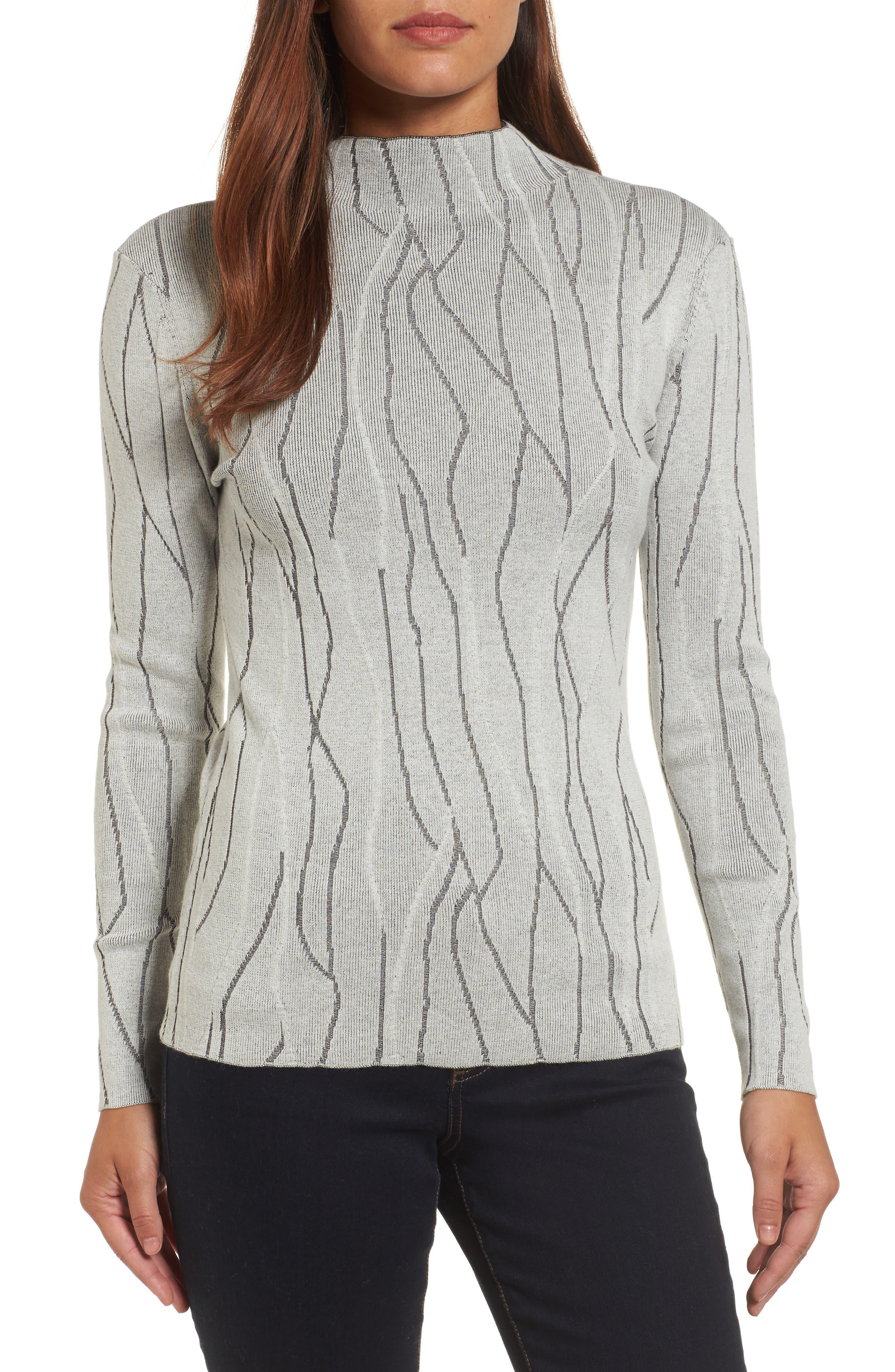 Artisanal Crackle Jacquard Sweater,                         Main,                         color, Chalk