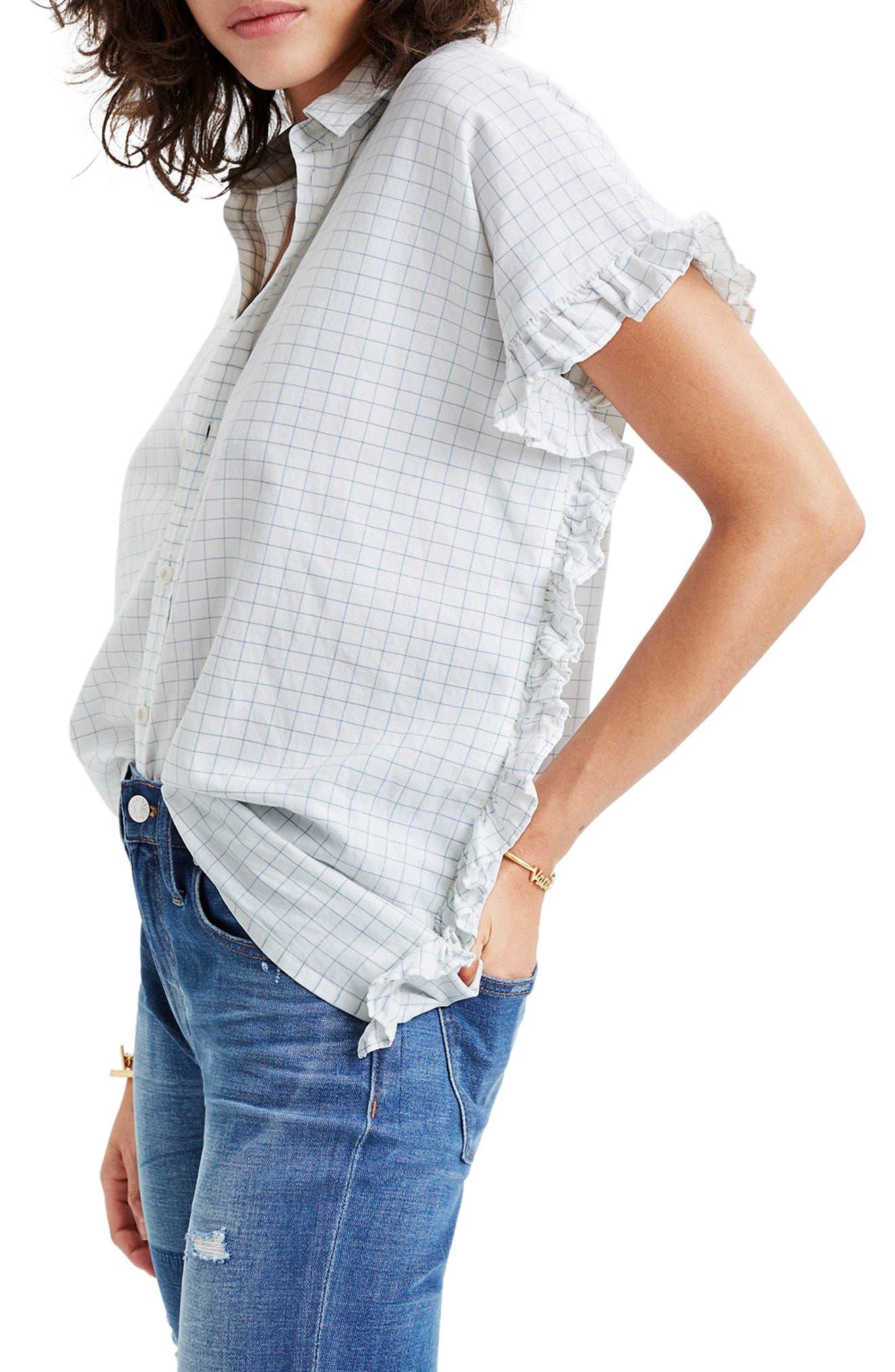 Windowpane Check Ruffle Shirt,                             Alternate thumbnail 3, color,                             Mini Windowpane