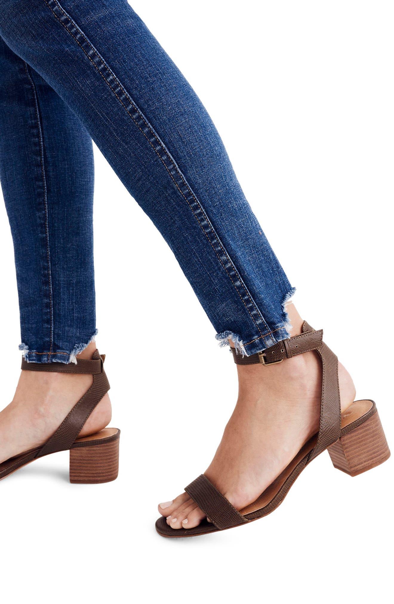 10-Inch Chewed Hem Skinny Jeans,                             Alternate thumbnail 3, color,                             Copeland
