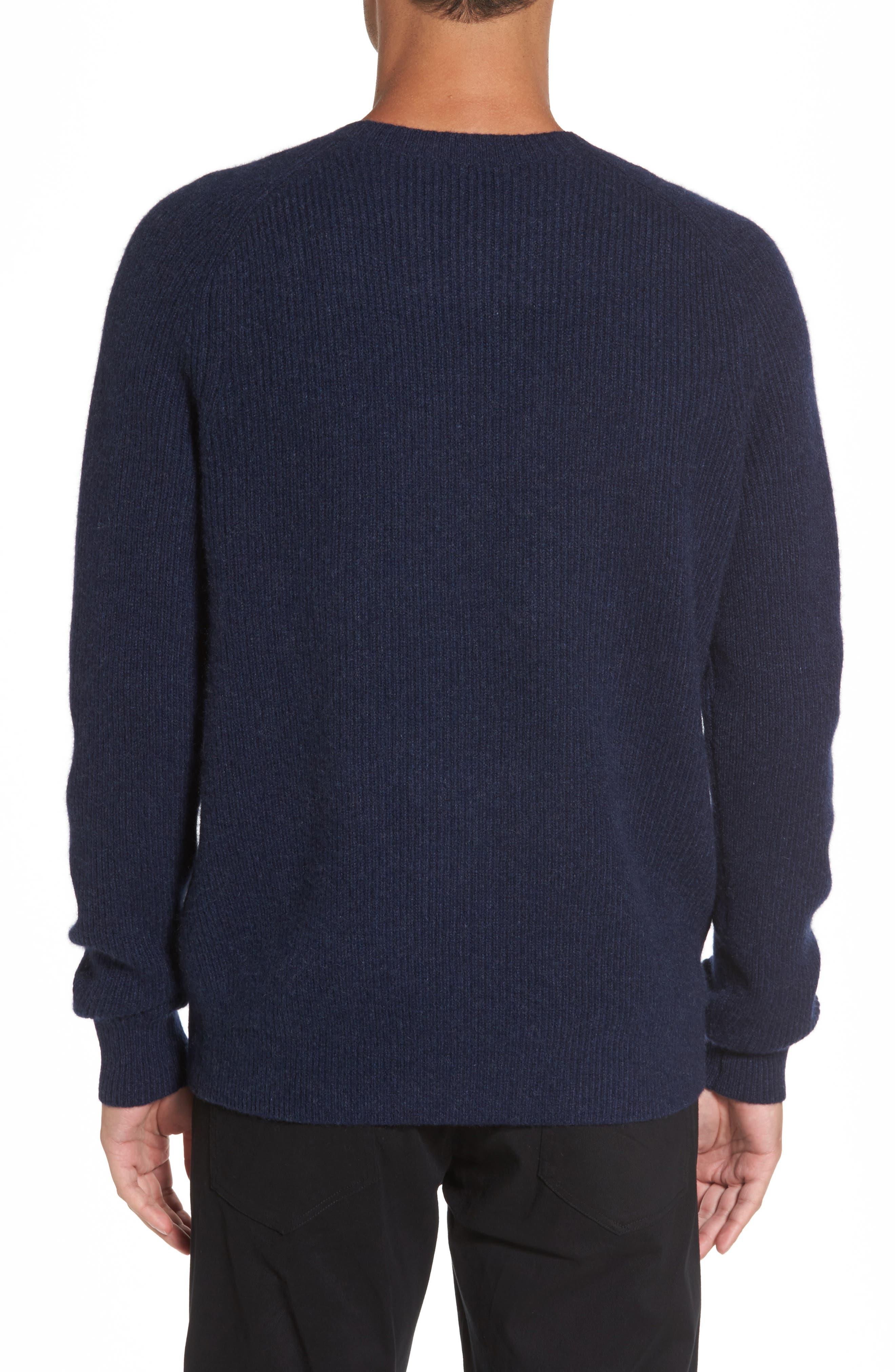 Ribbed Wool & Cashmere Raglan Sweater,                             Alternate thumbnail 2, color,                             Coastal