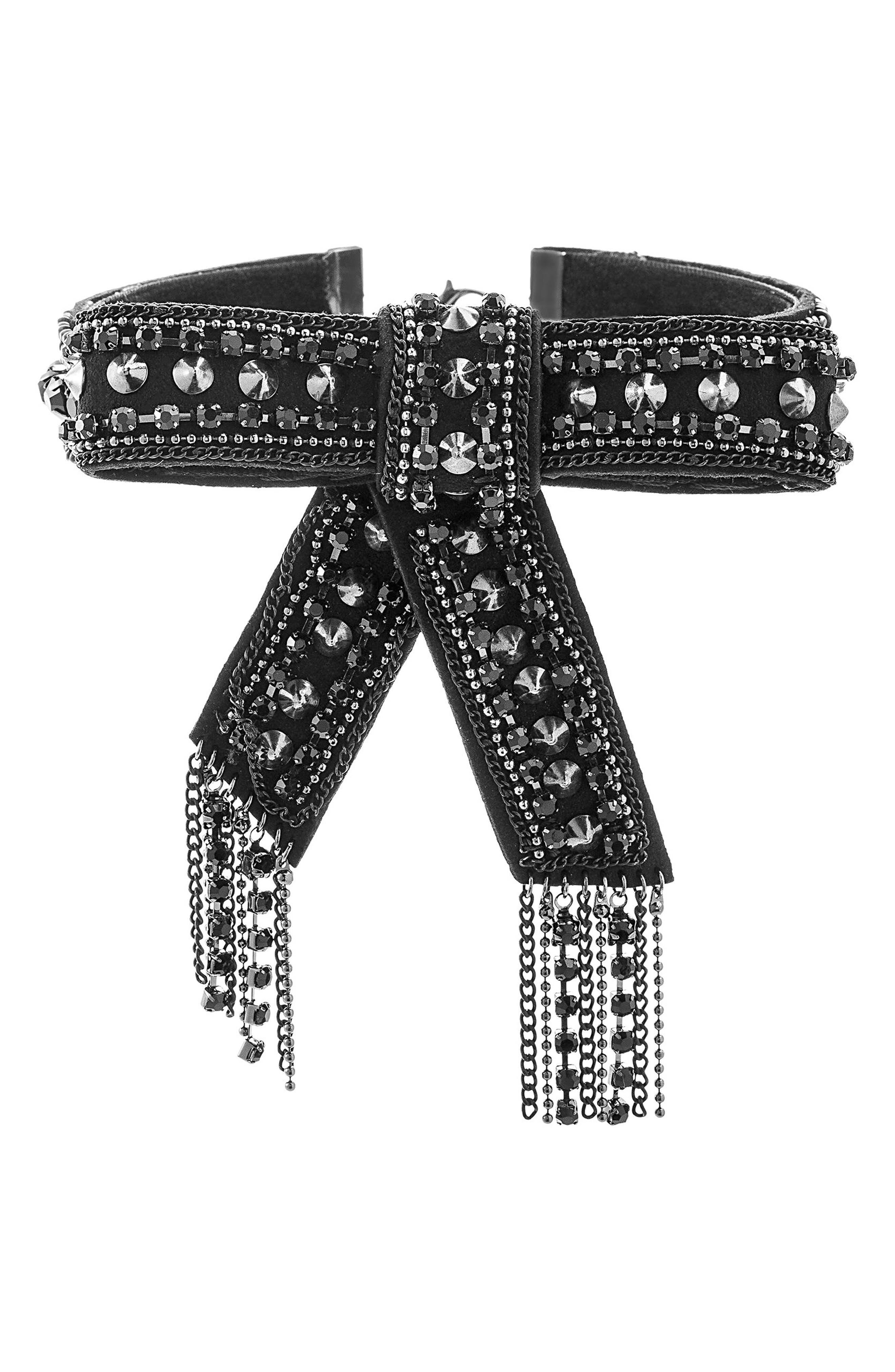 Curb Chain Tassel Choker,                         Main,                         color, Black