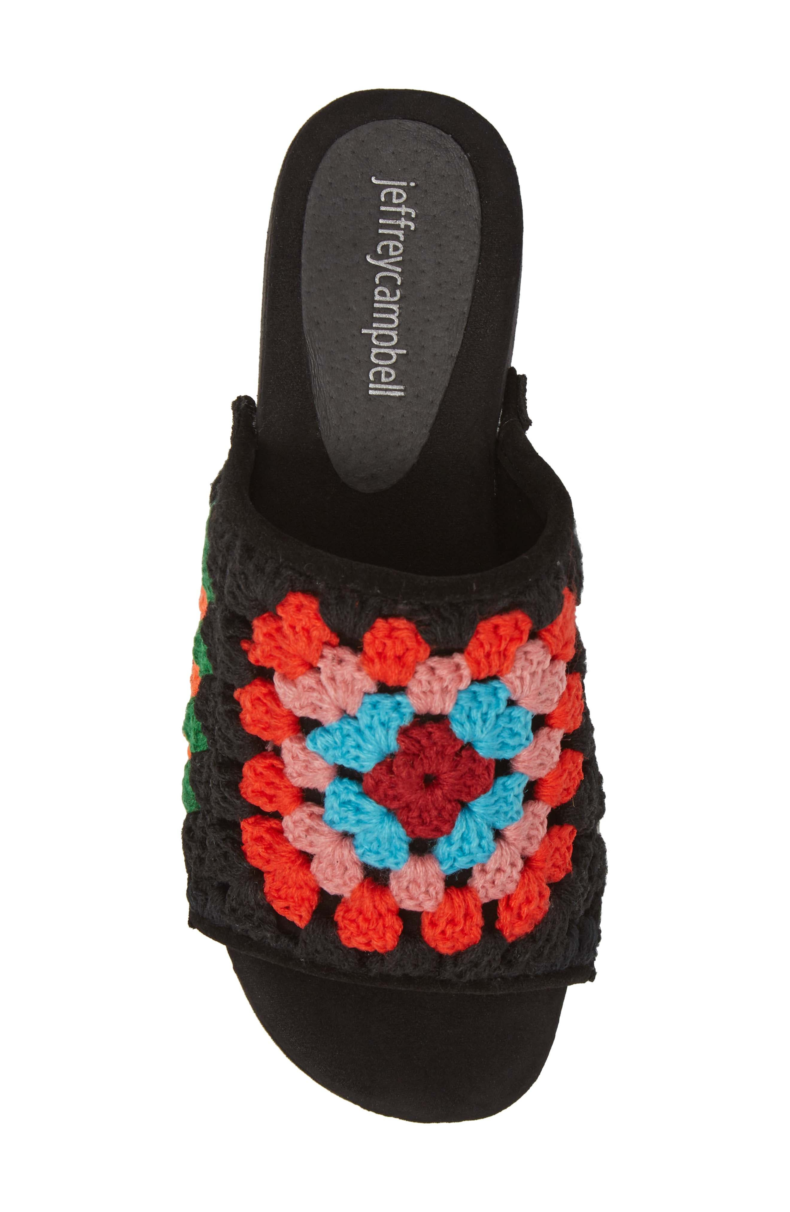 Nonna Crocheted Platform Slide Sandal,                             Alternate thumbnail 5, color,                             Black Suede Multi