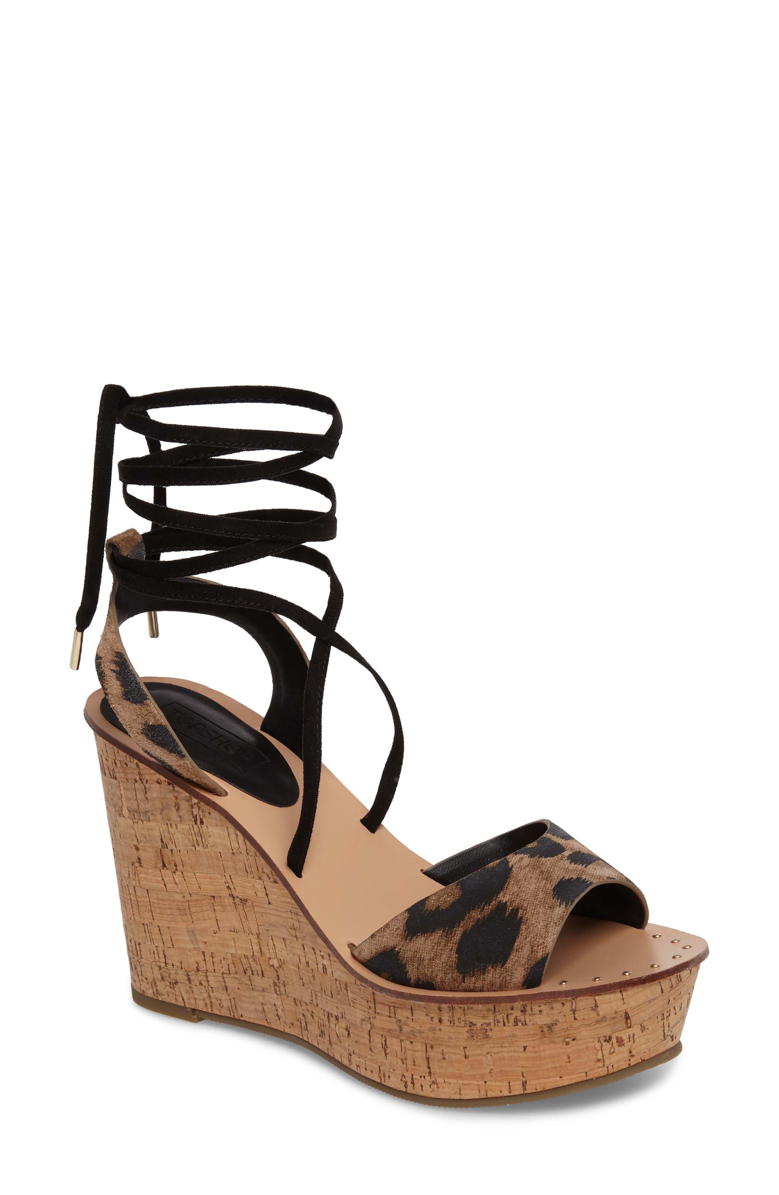 Platform Wedge Sandal,                             Main thumbnail 1, color,                             Leopard